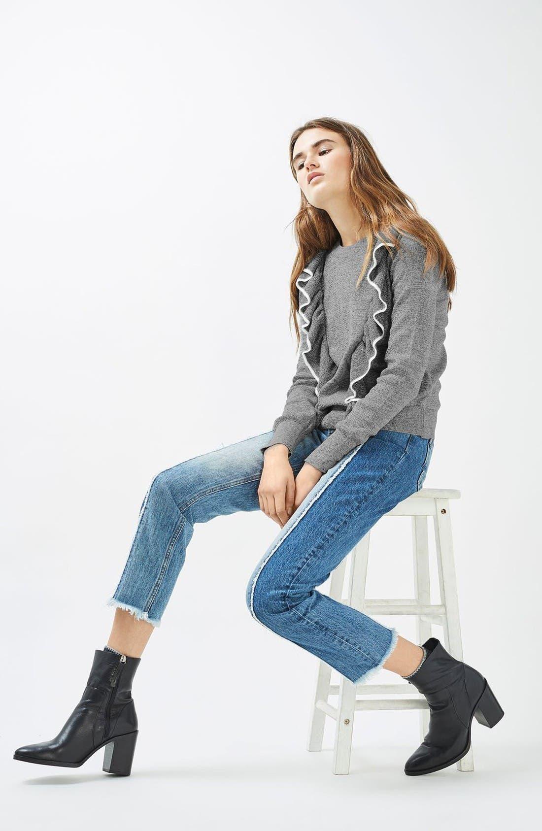 Alternate Image 2  - Topshop Tipped Ruffle Sweater