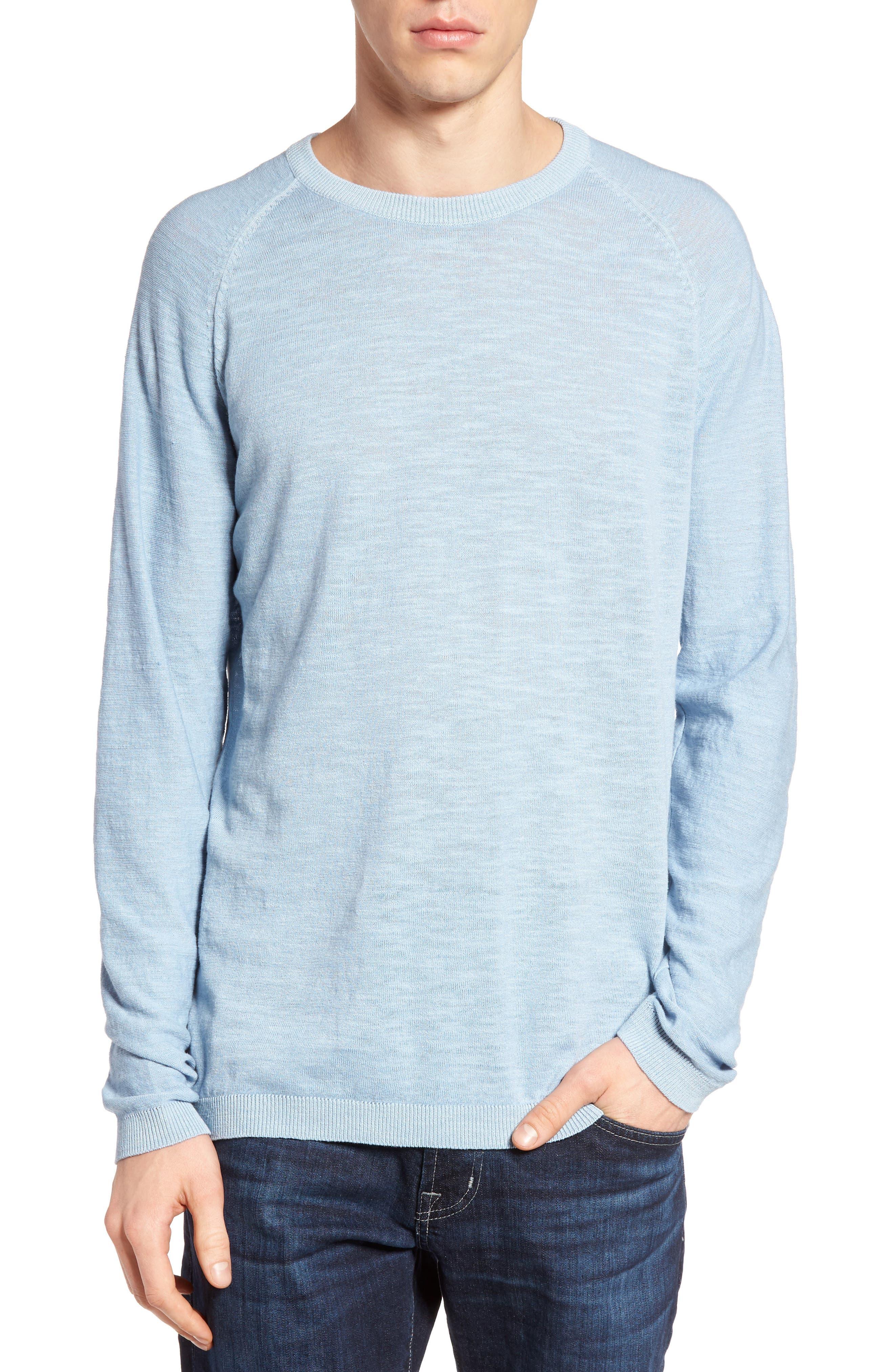 Arambol Cotton & Linen Sweater,                             Main thumbnail 1, color,                             Blue Lagoon