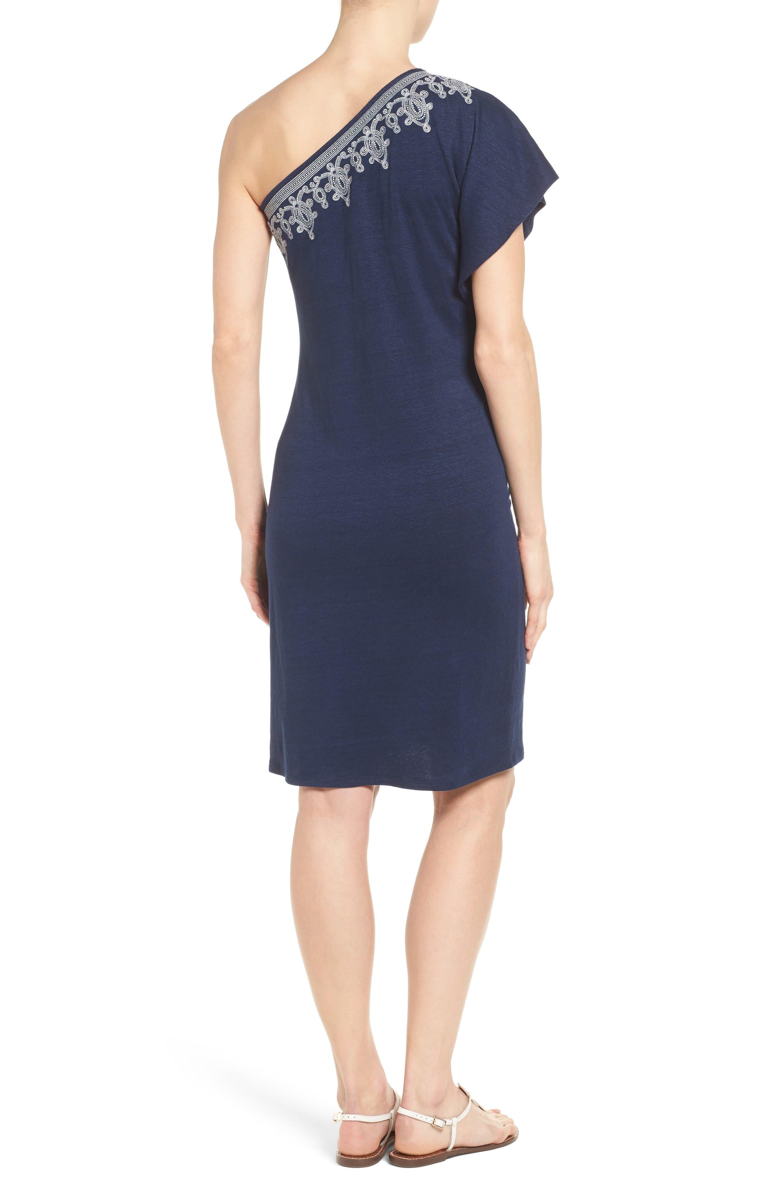 Lovelin One-Shoulder Dress,                             Alternate thumbnail 2, color,                             Ocean Deep