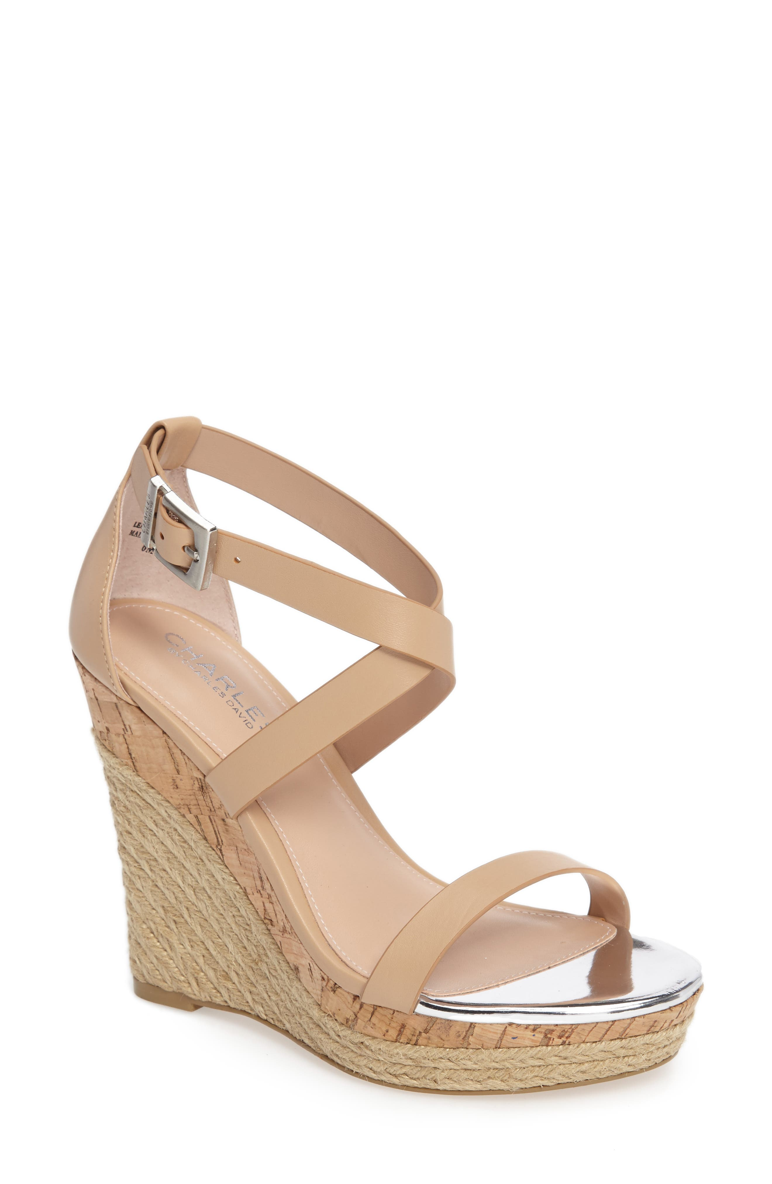 Aden Platform Wedge Sandal,                         Main,                         color, Nude Leather