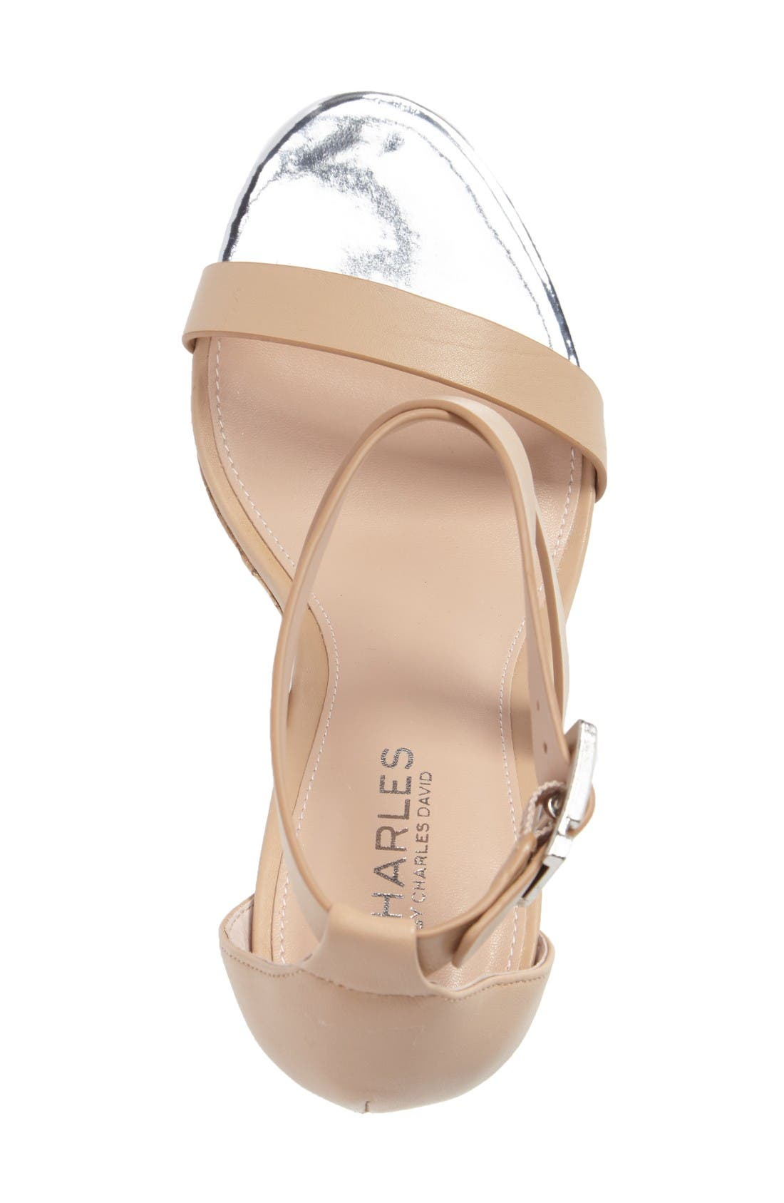 Aden Platform Wedge Sandal,                             Alternate thumbnail 3, color,                             Nude Leather