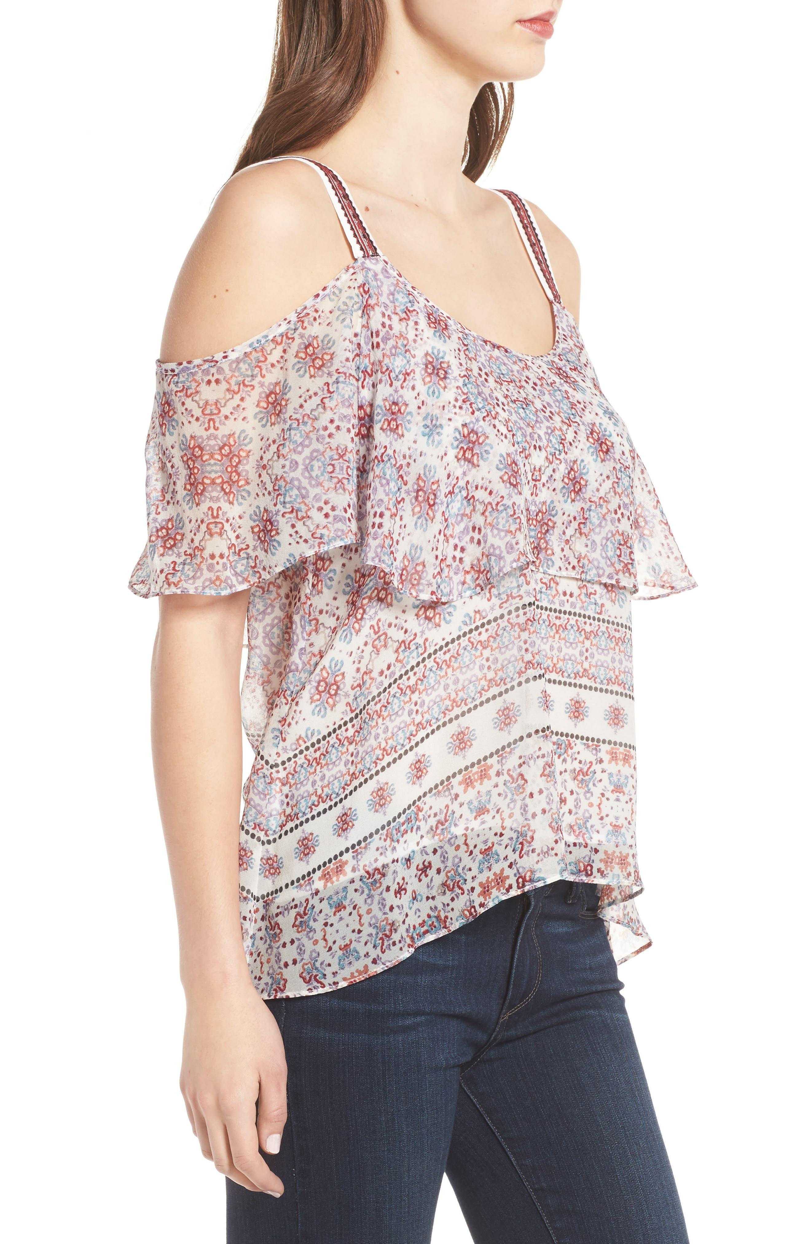 Alternate Image 3  - Ella Moss Wayfare Cold Shoulder Silk Top