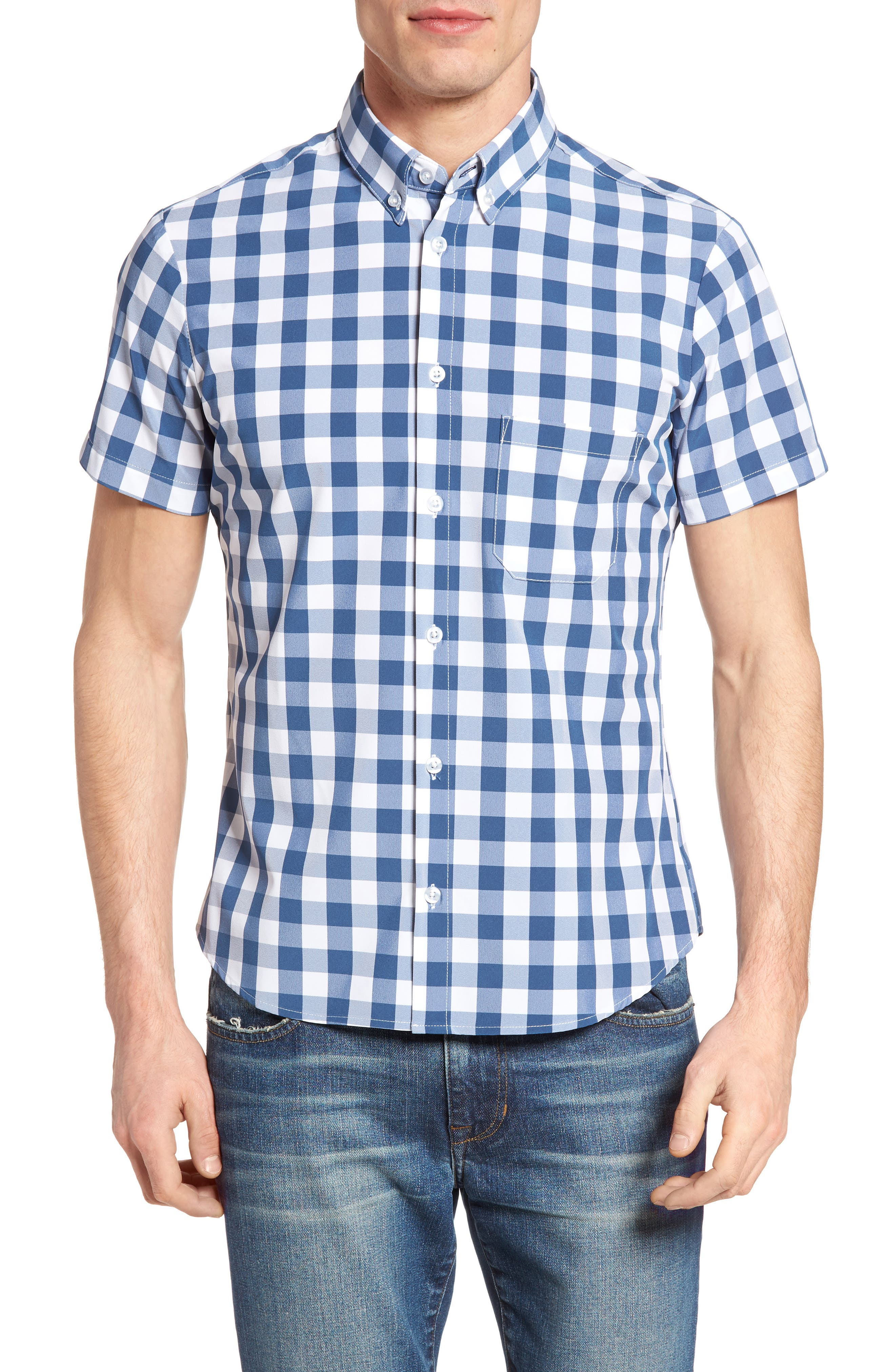 Mizzen+Main Blackburn Poseidon Slim Fit Gingham Performance Sport Shirt