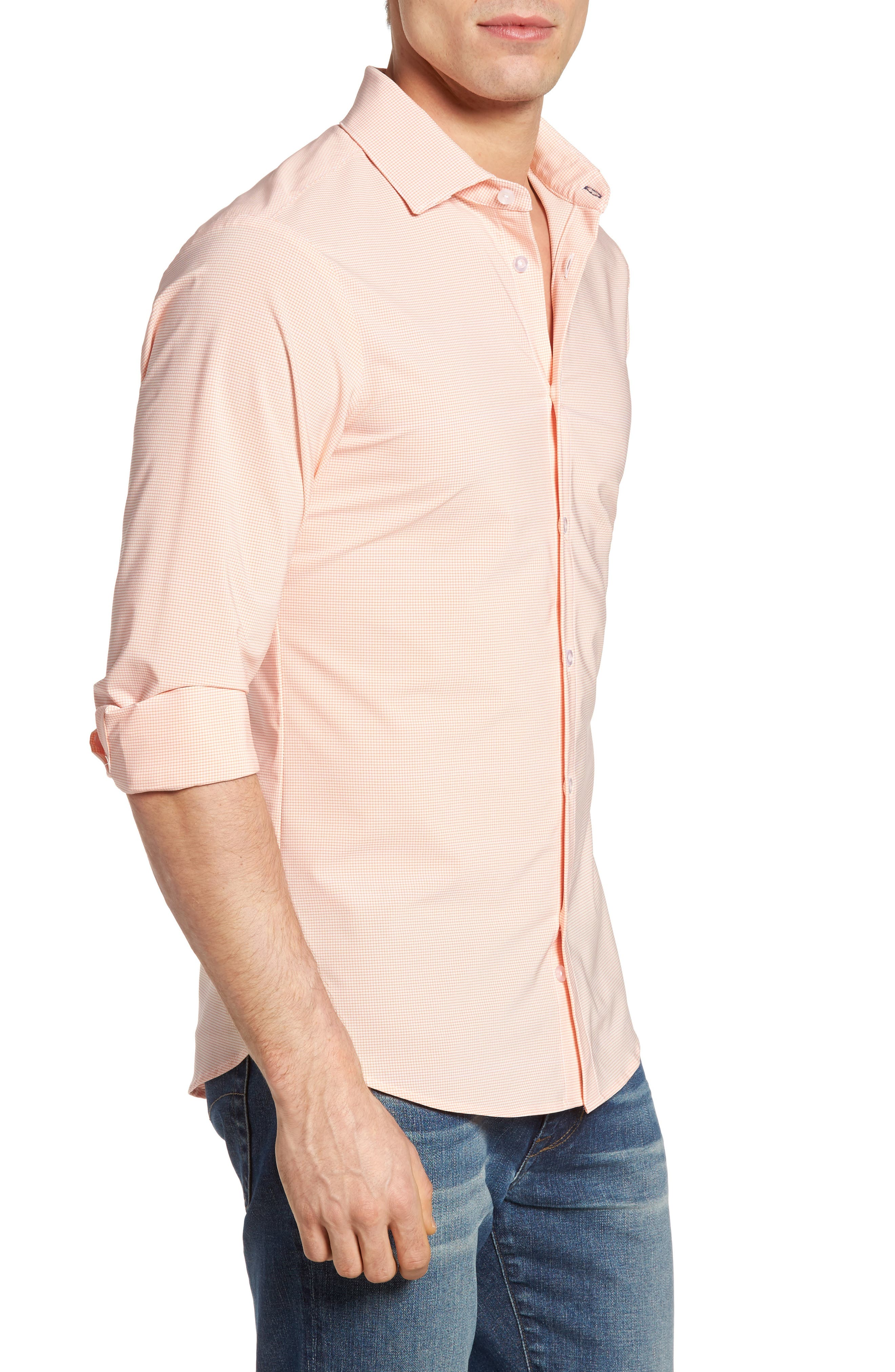 Charles Microcheck Performance Sport Shirt,                             Alternate thumbnail 3, color,                             Peach