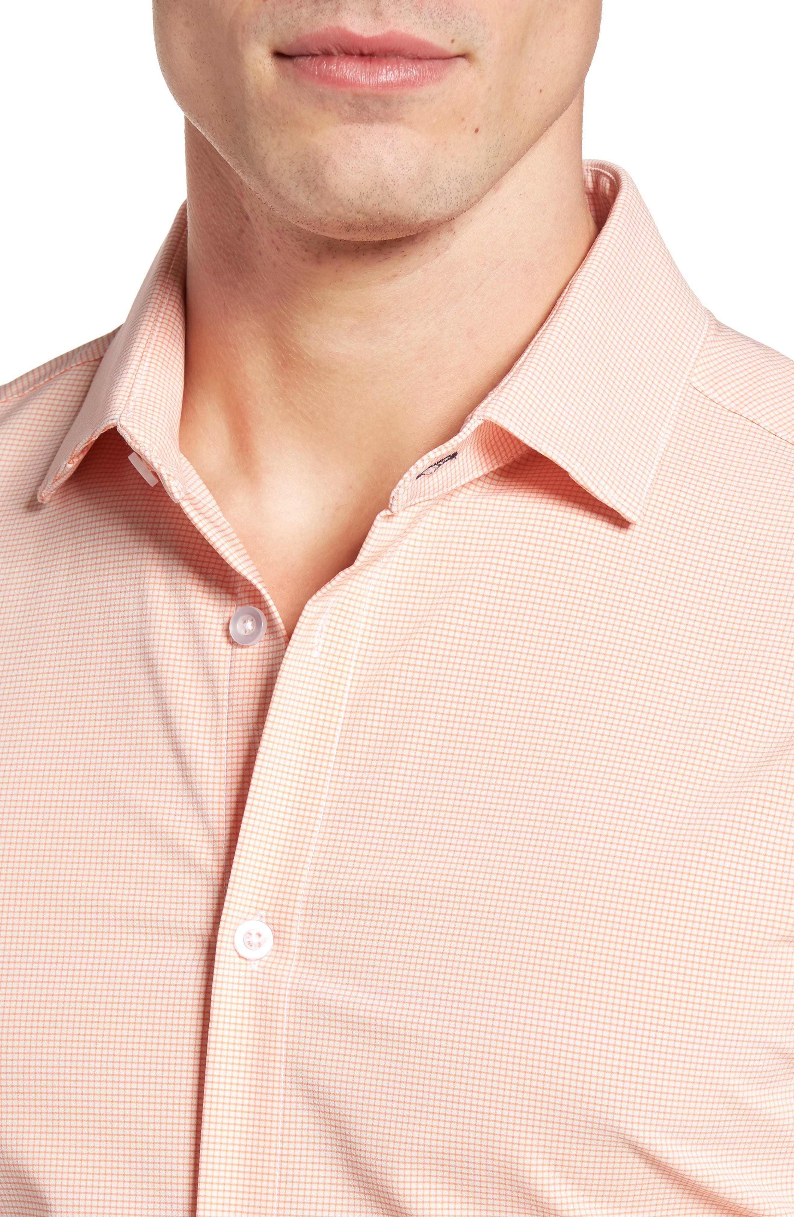 Charles Microcheck Performance Sport Shirt,                             Alternate thumbnail 4, color,                             Peach