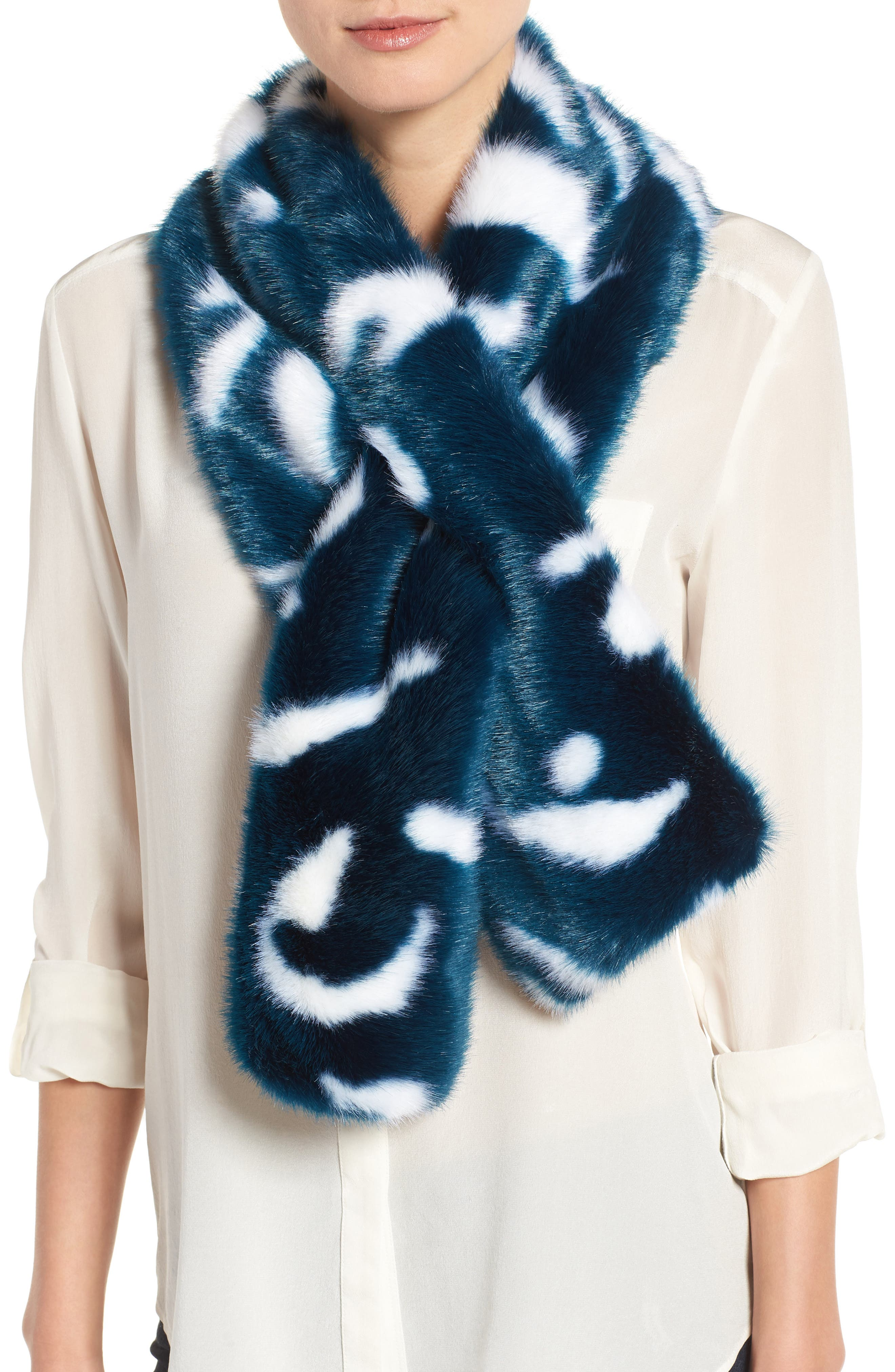 Main Image - Ted Baker London Colorblock Faux Fur Scarf