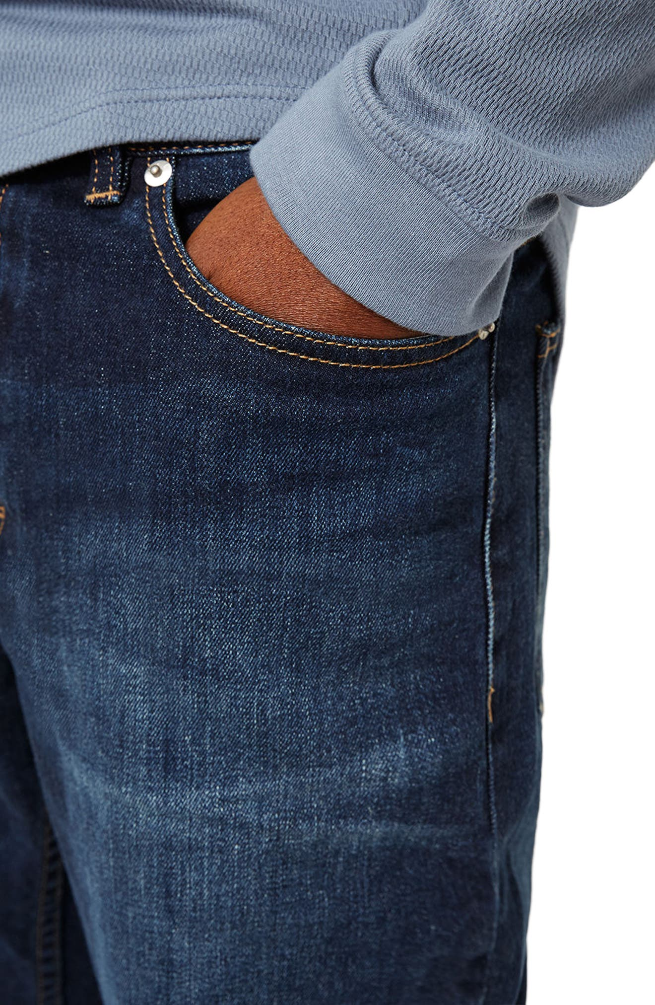 Alternate Image 4  - Topman Stretch Slim Fit Jeans (Mid Blue)