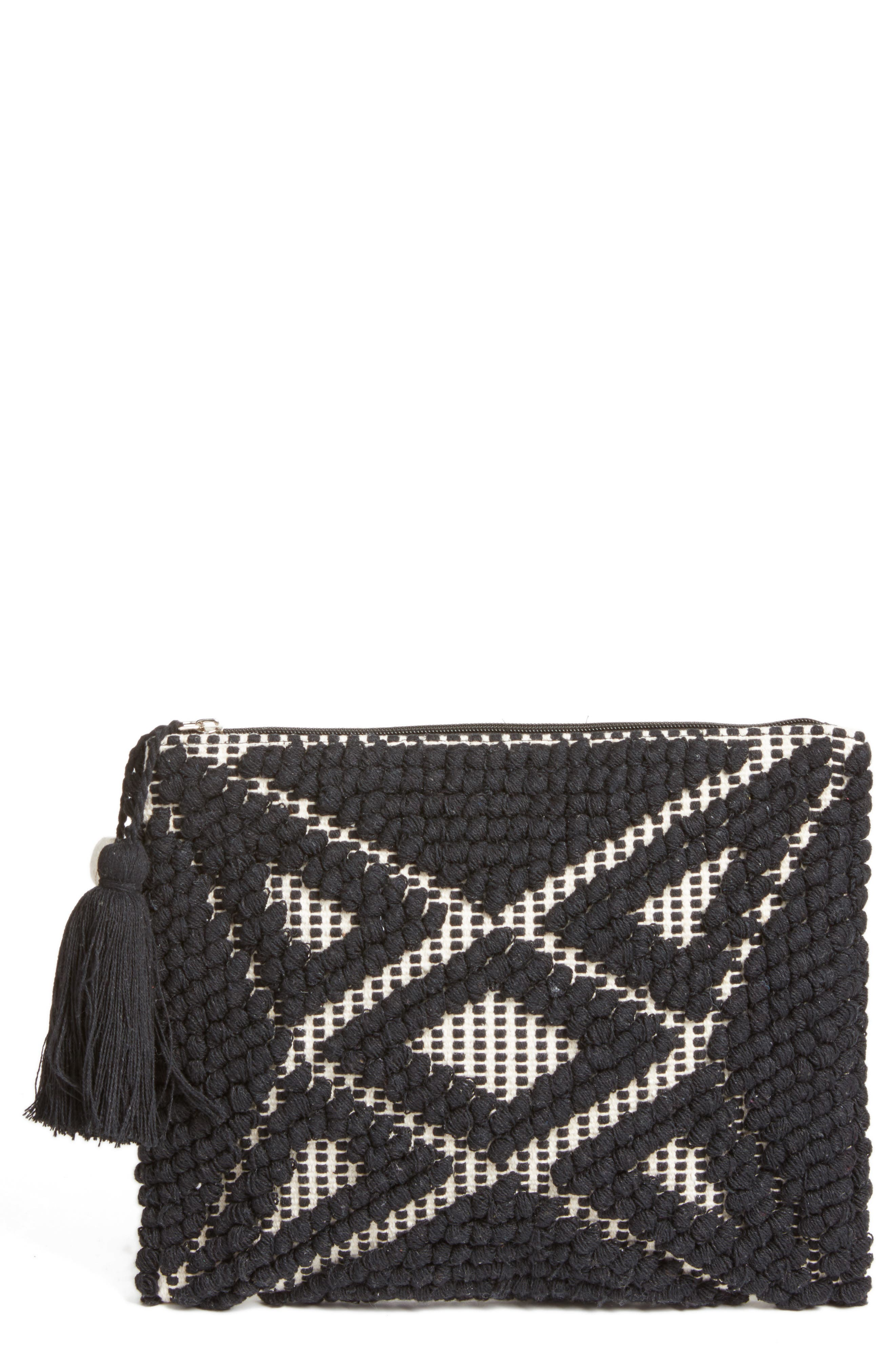Palisades Tasseled Woven Clutch,                         Main,                         color, Black/ White