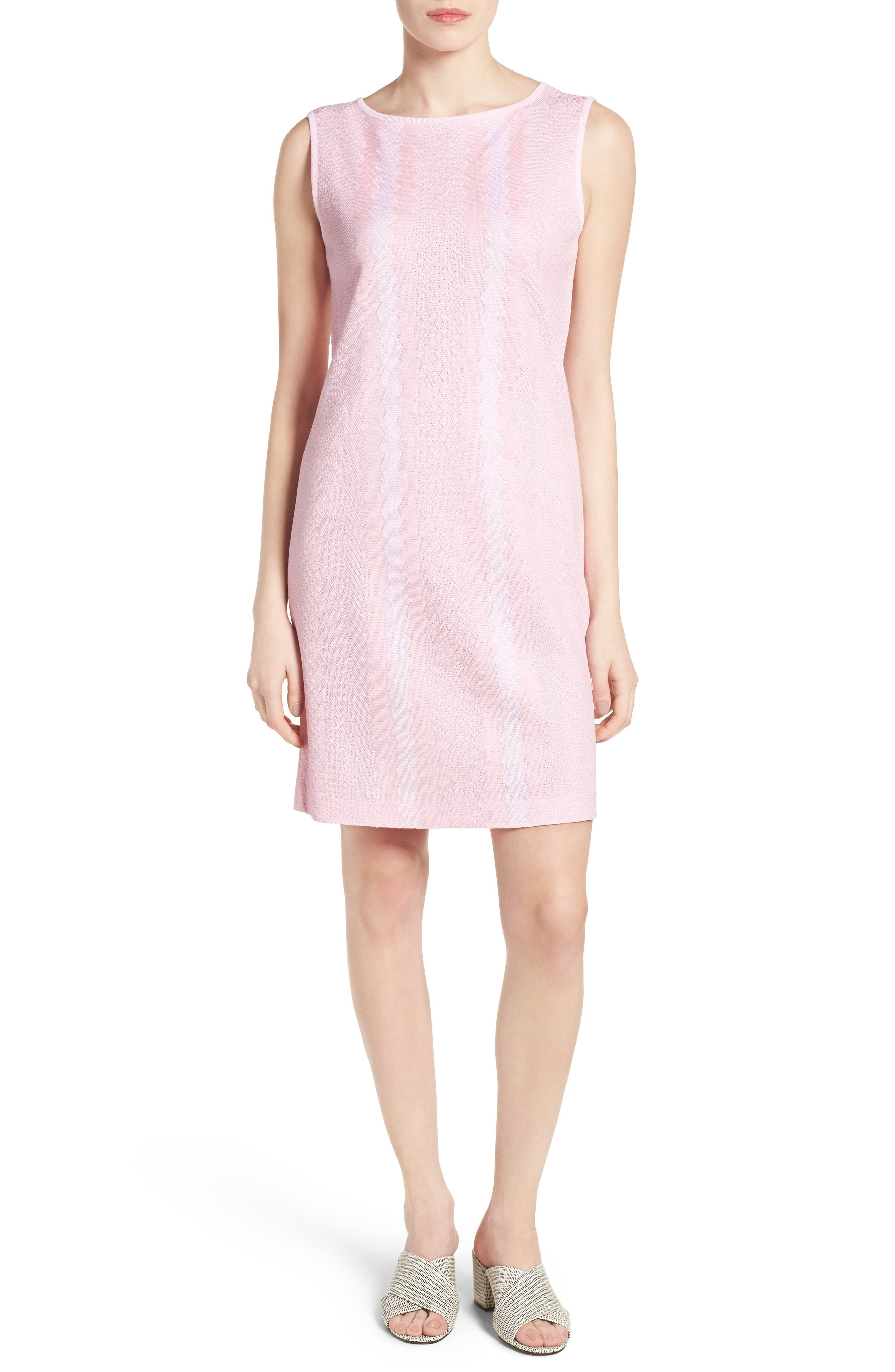 Sleeveless Knit Sheath Dress,                             Main thumbnail 1, color,                             Perfect Pink/ White