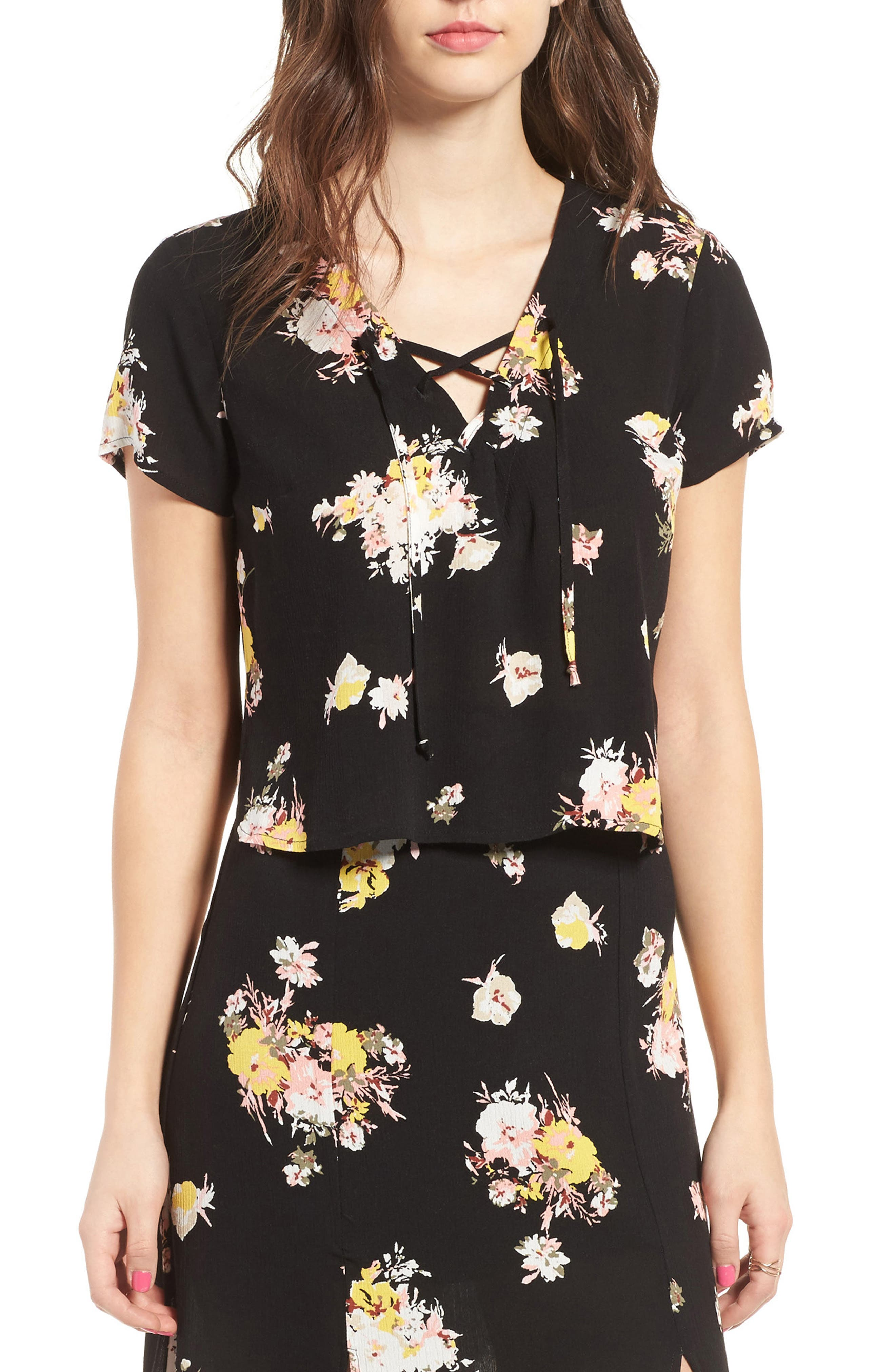 Coordinating Lace-Up Crop Top,                         Main,                         color, Black Blush Floral