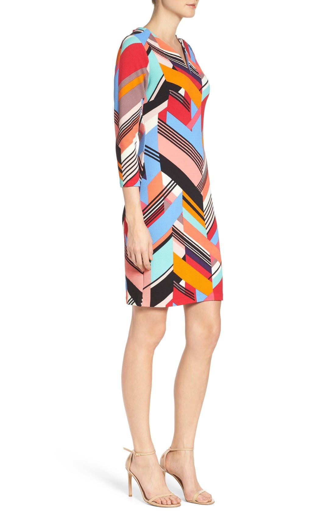 Print Piqué Sheath Dress,                             Alternate thumbnail 3, color,                             Multi