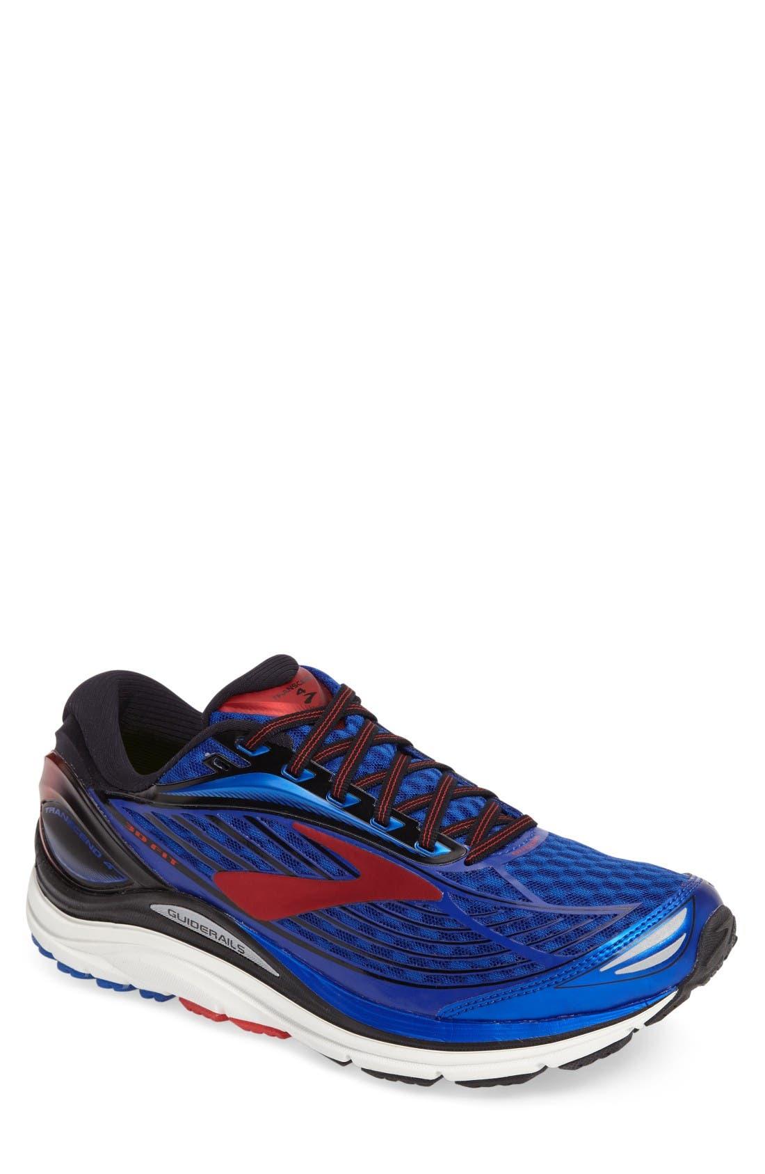 Transcend 4 Running Shoe,                             Main thumbnail 1, color,                             Blue/ Black/ Red