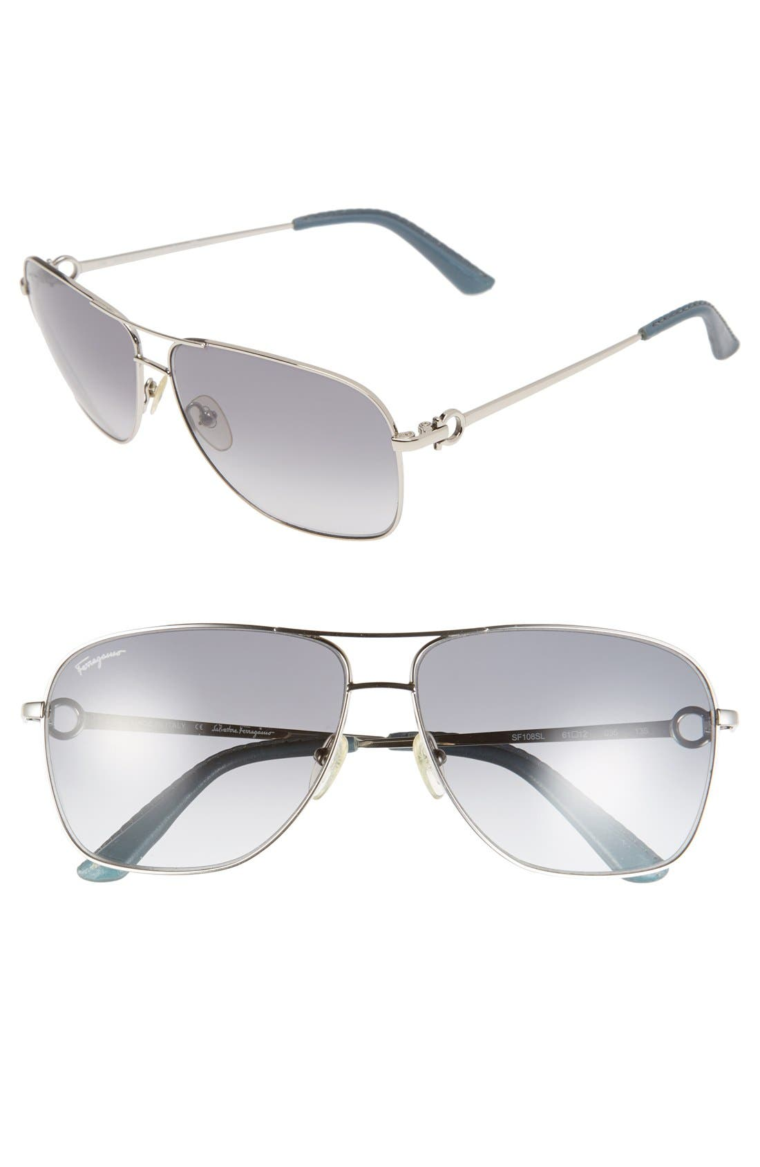 Main Image - Salvatore Ferragamo 61mm Metal Navigator Sunglasses