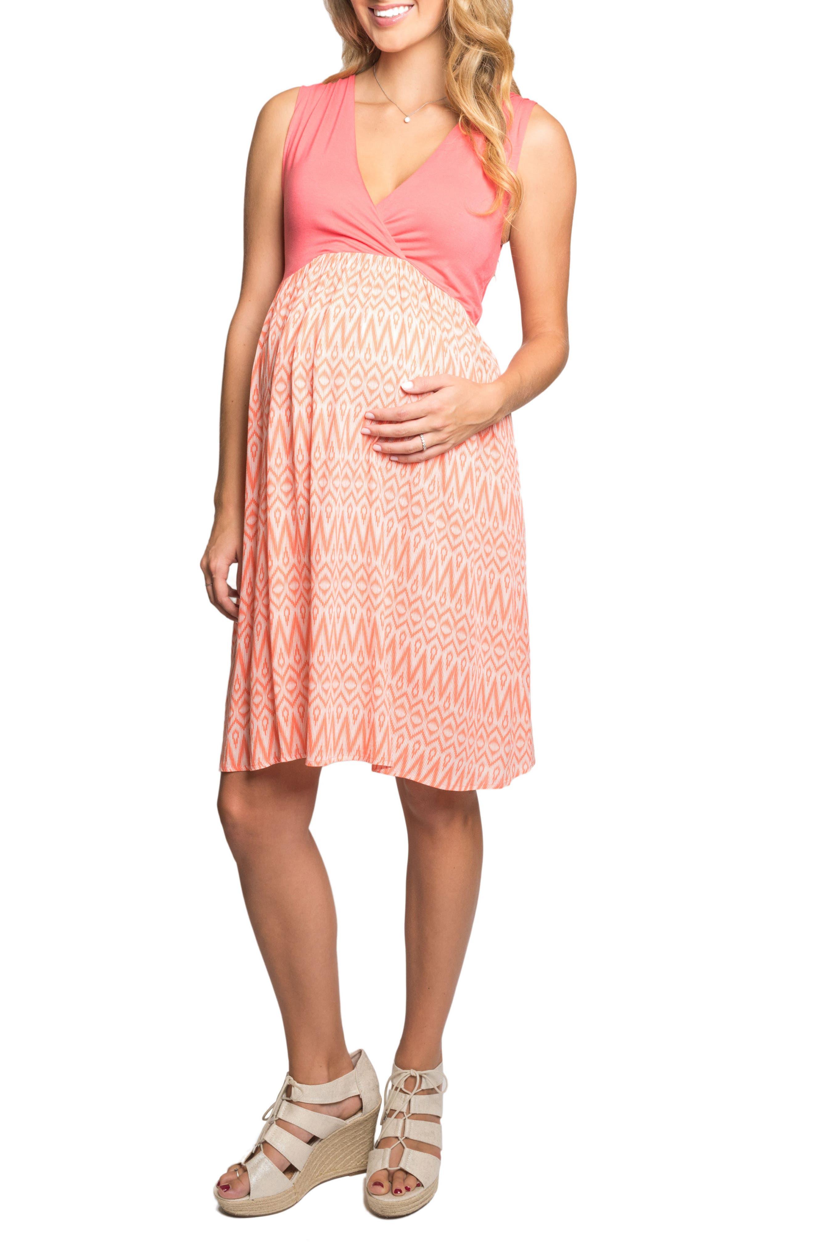 Cleo Maternity/Nursing Dress,                         Main,                         color, Coral