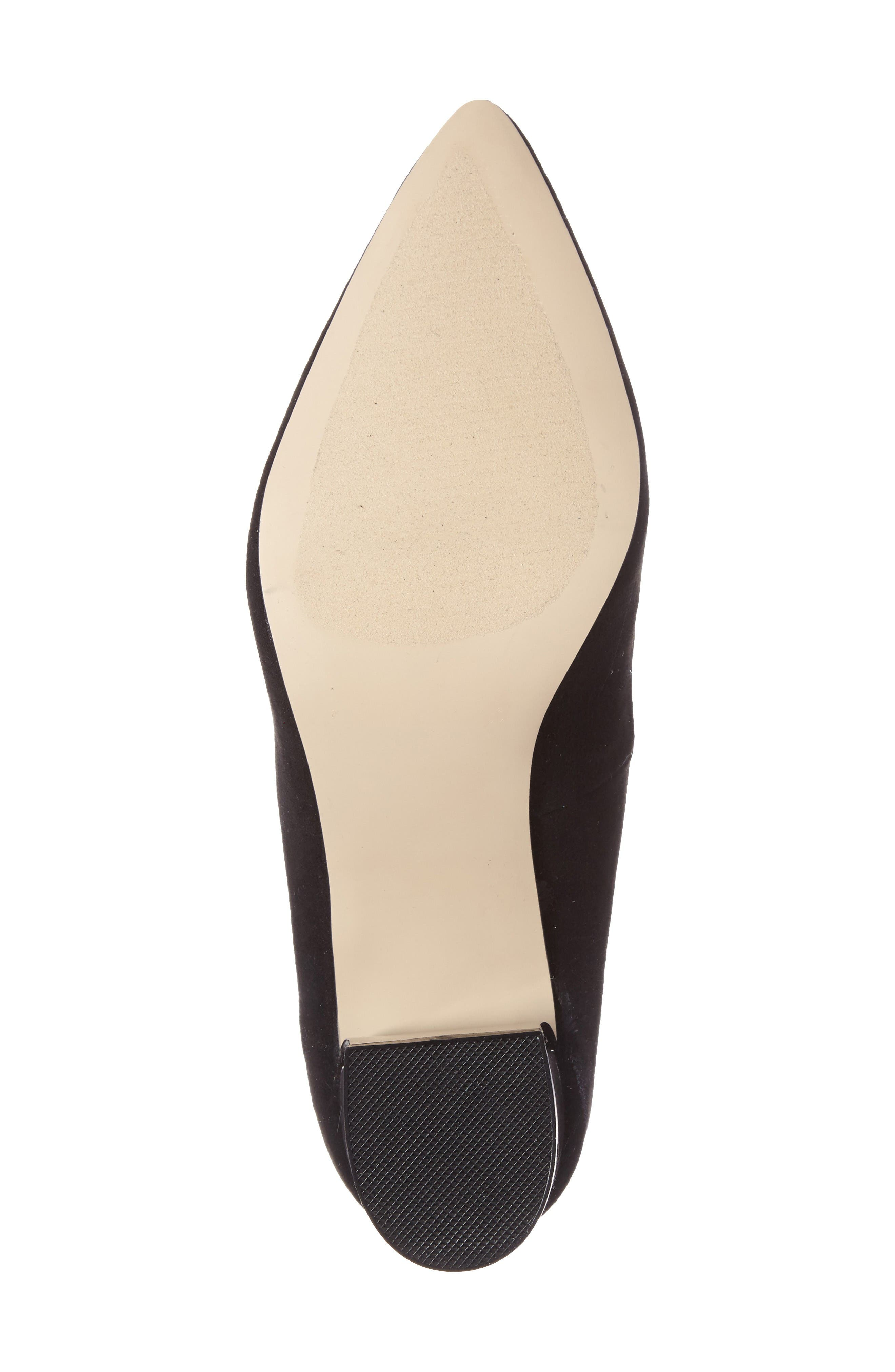 Zabel Embellished Block Heel Pump,                             Alternate thumbnail 4, color,                             Black Faux Suede