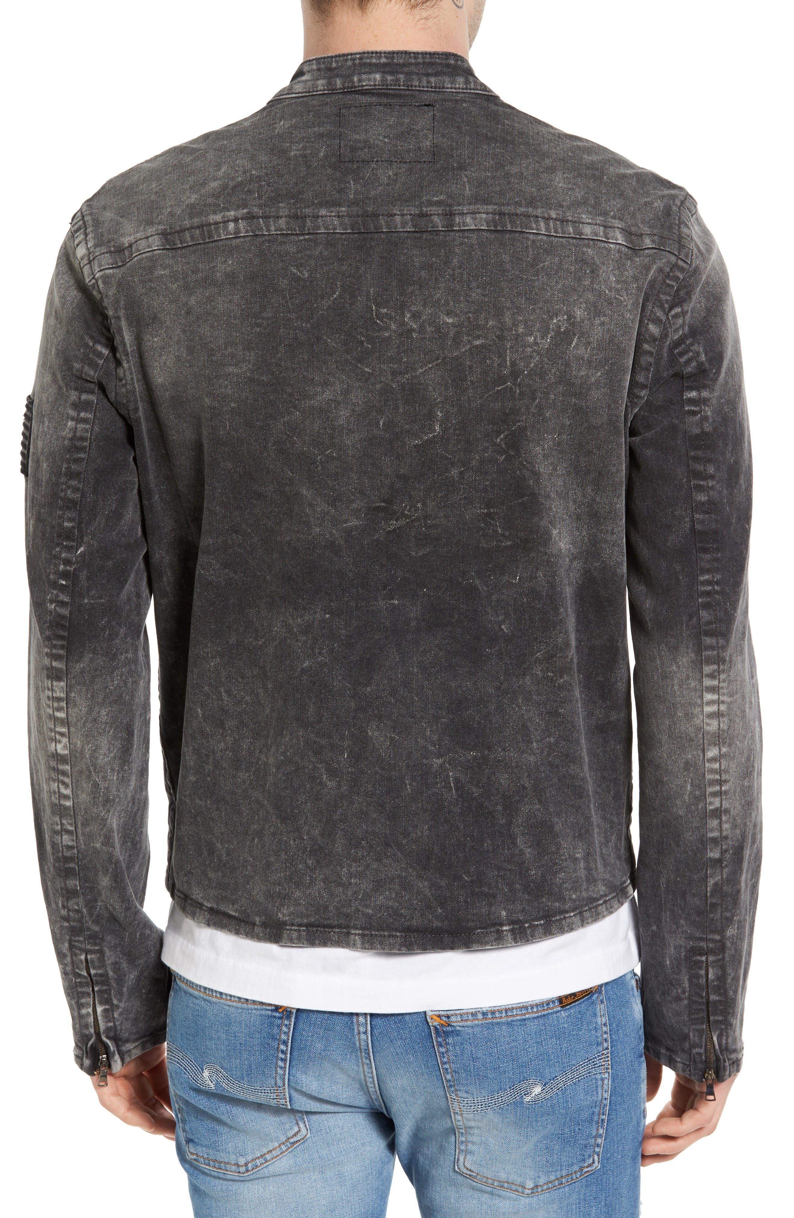 Denim Moto Jacket,                             Alternate thumbnail 2, color,                             Dii Black