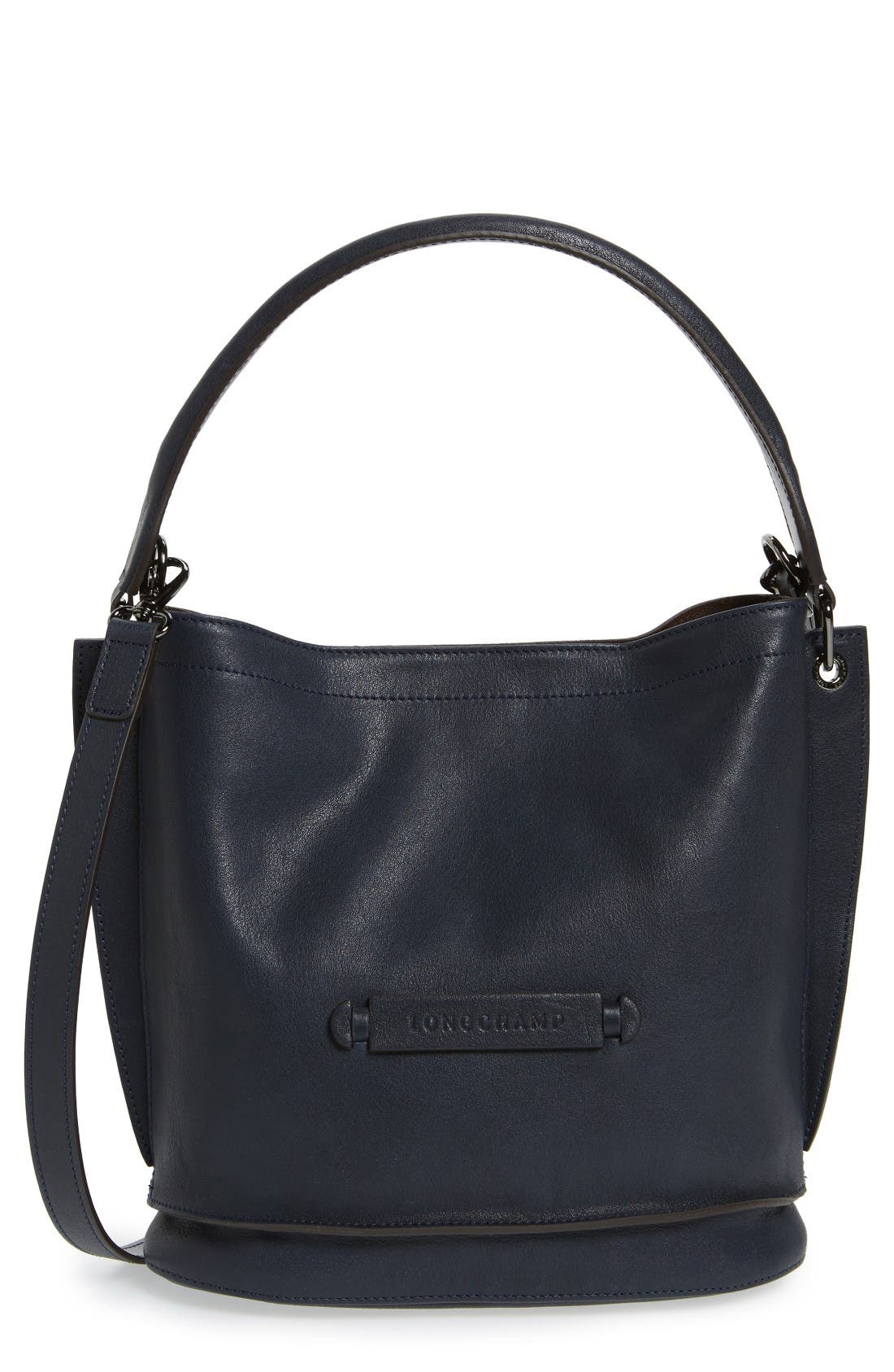 Longchamp '3D' Leather Crossbody Hobo
