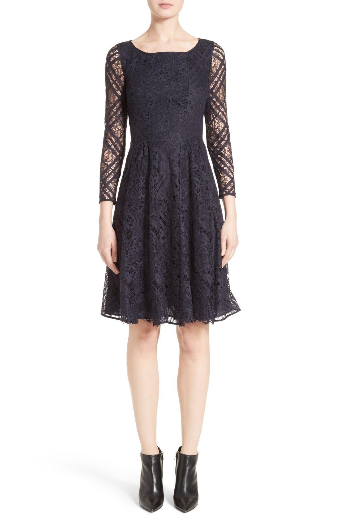 Liliana Lace Fit & Flare Dress,                             Main thumbnail 1, color,                             Navy