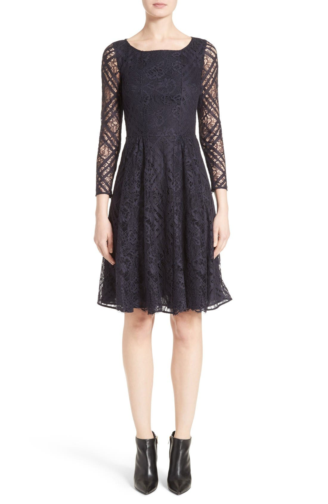 Liliana Lace Fit & Flare Dress,                         Main,                         color, Navy