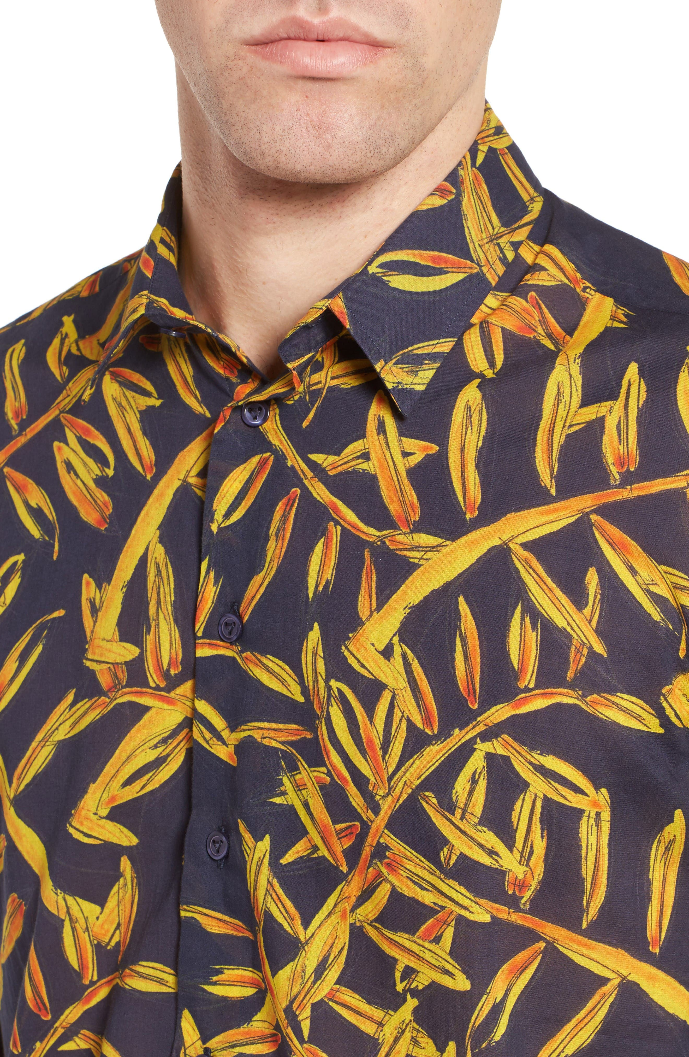 Vilbrequin Gold Palms Voile Sport Shirt,                             Alternate thumbnail 2, color,                             Navy Blue