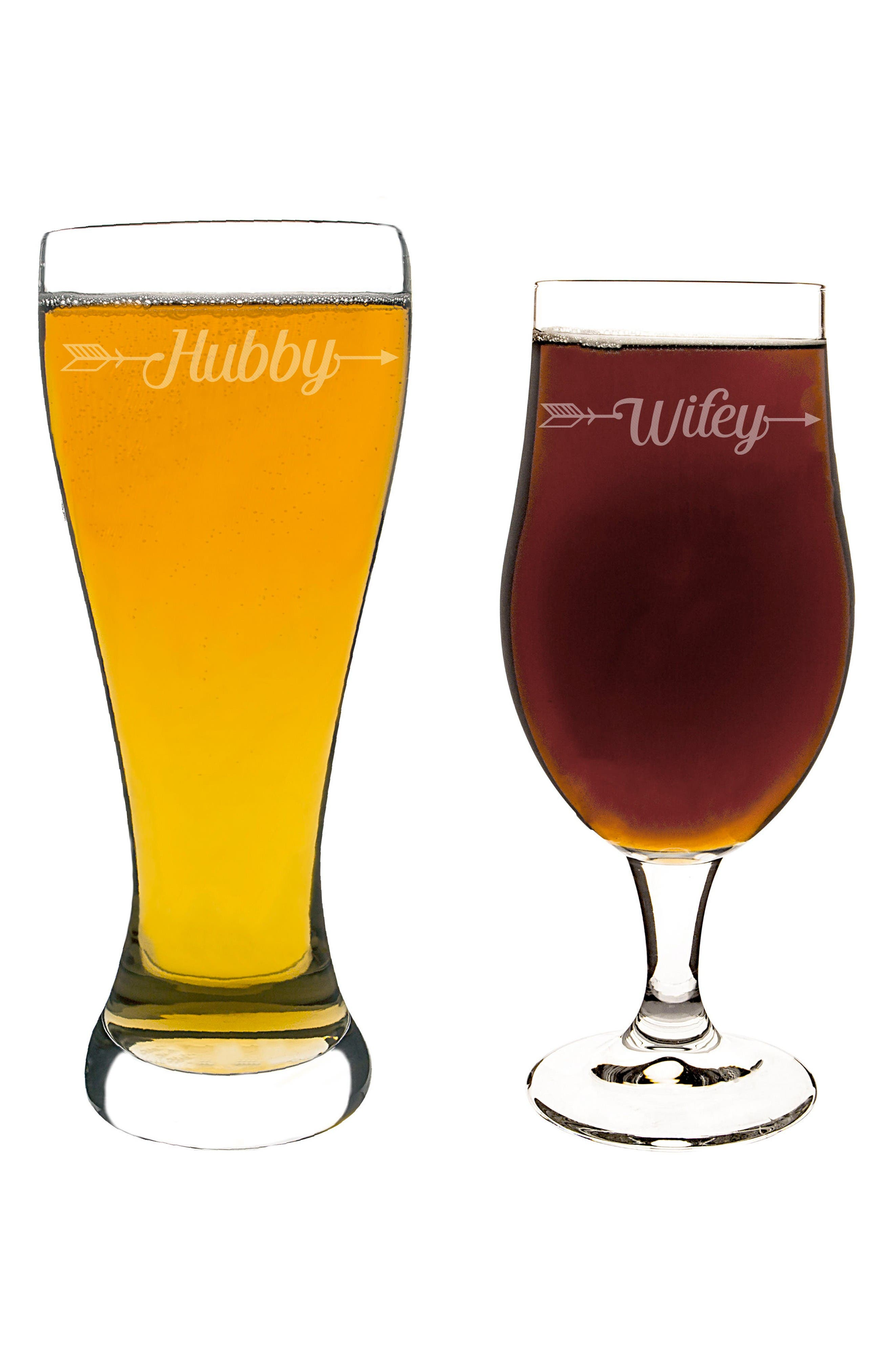 Hubby/Wifey Set of 2 Pilsner Glasses,                         Main,                         color, Clear