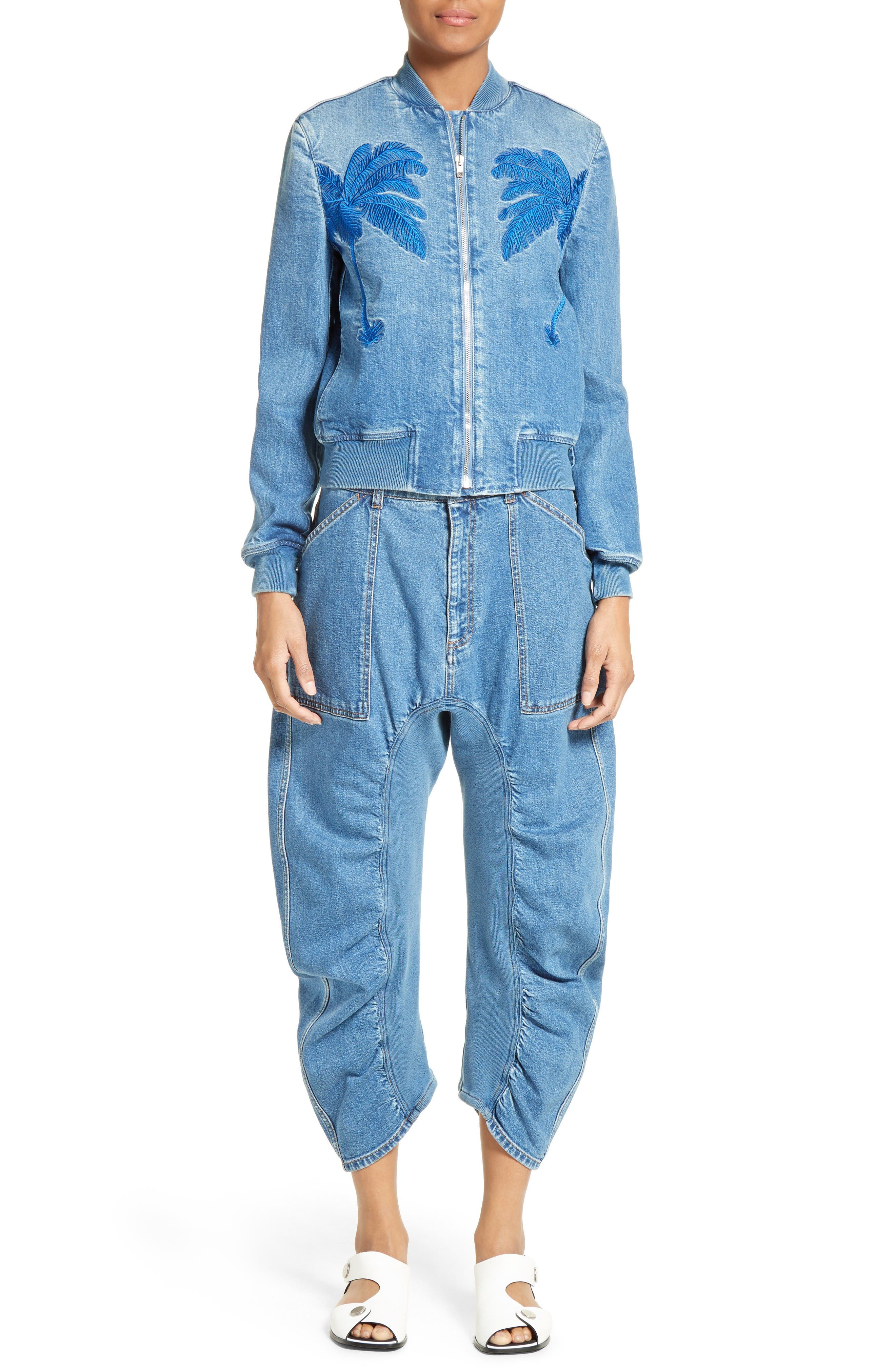 Xenia Ruched Crop Jeans,                             Alternate thumbnail 2, color,                             Blue