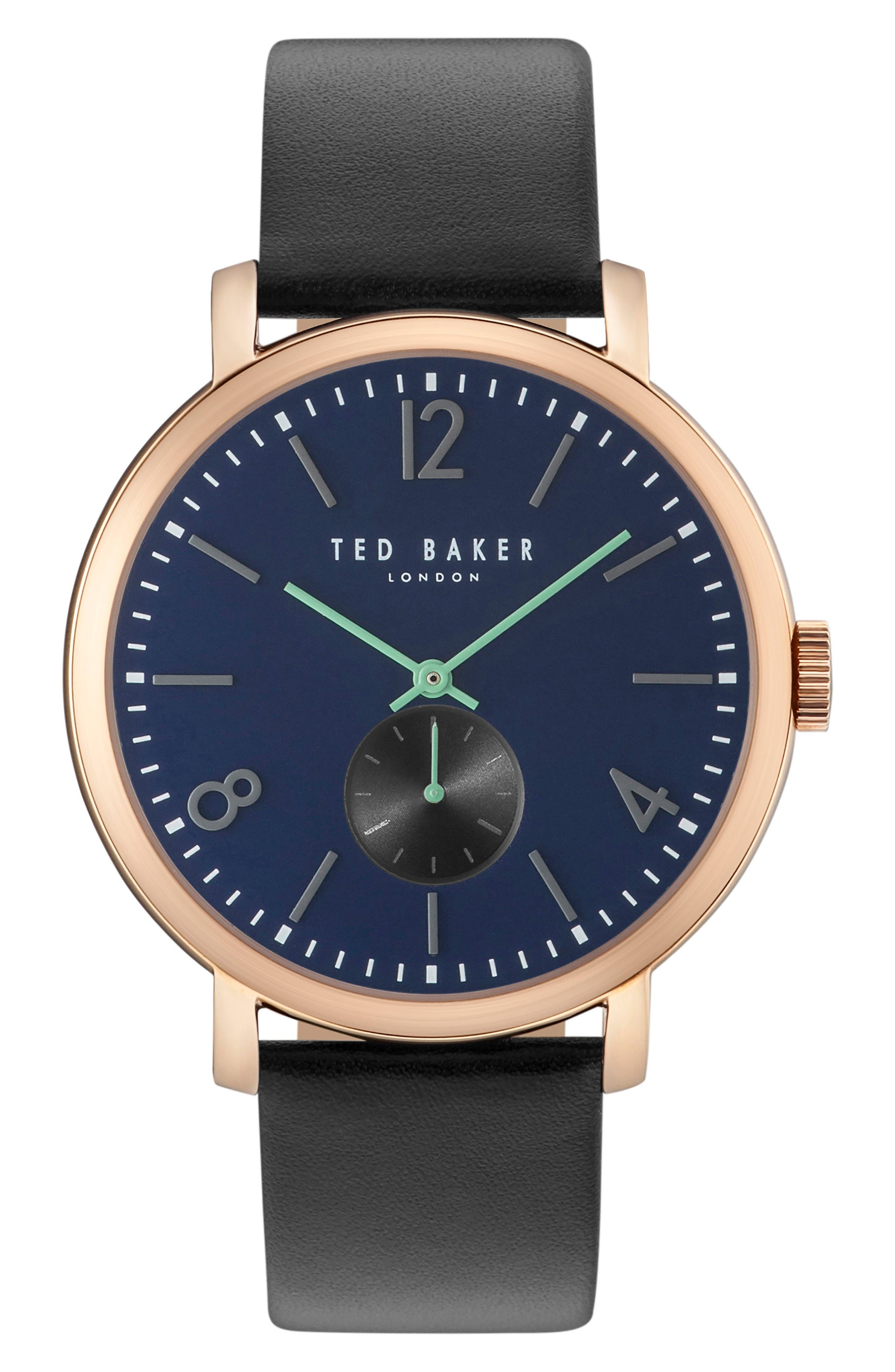 Oliver Leather Strap Watch, 42mm,                         Main,                         color, Navy/ Black