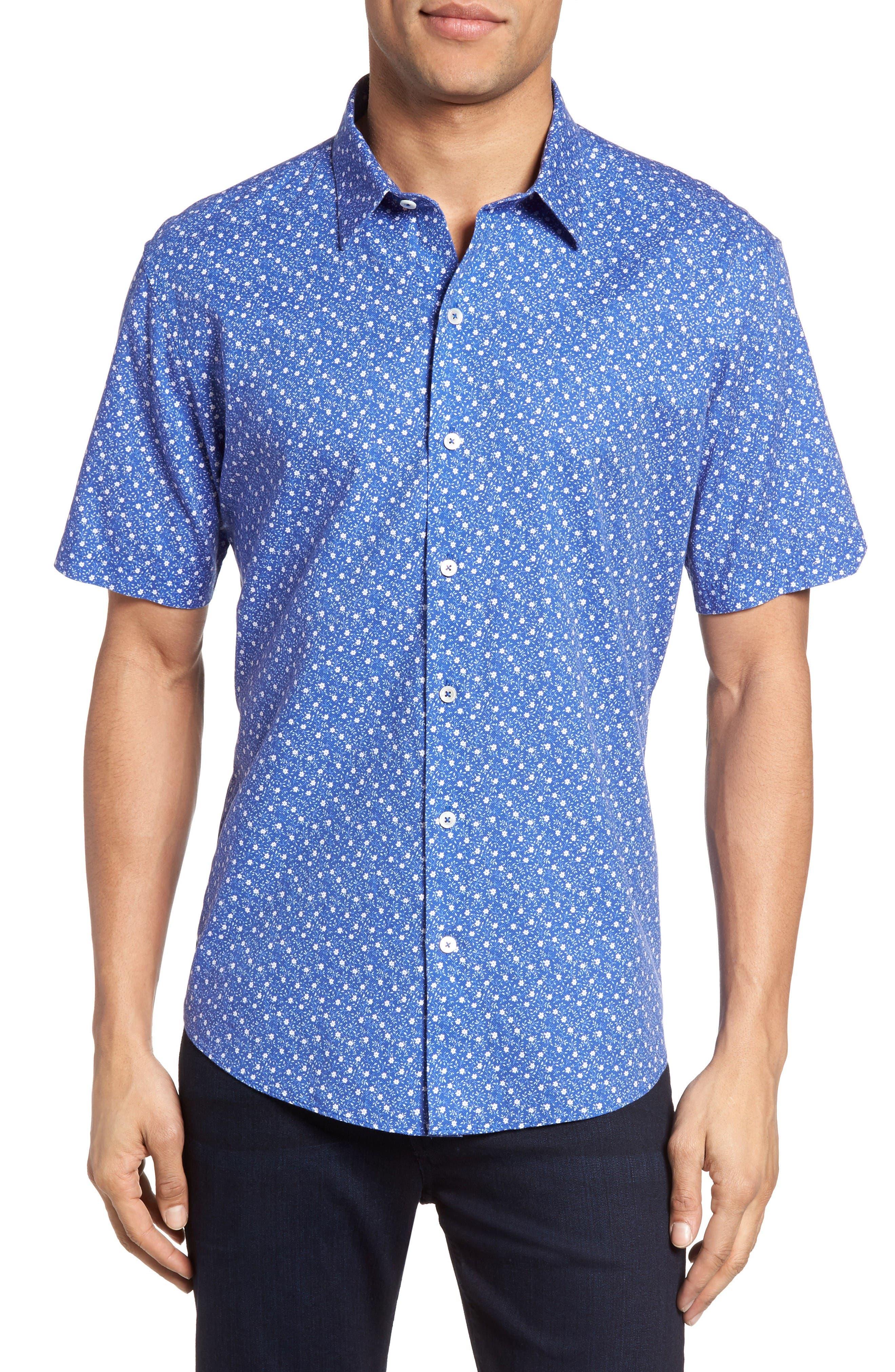 Rashid Print Sport Shirt,                         Main,                         color, Royal