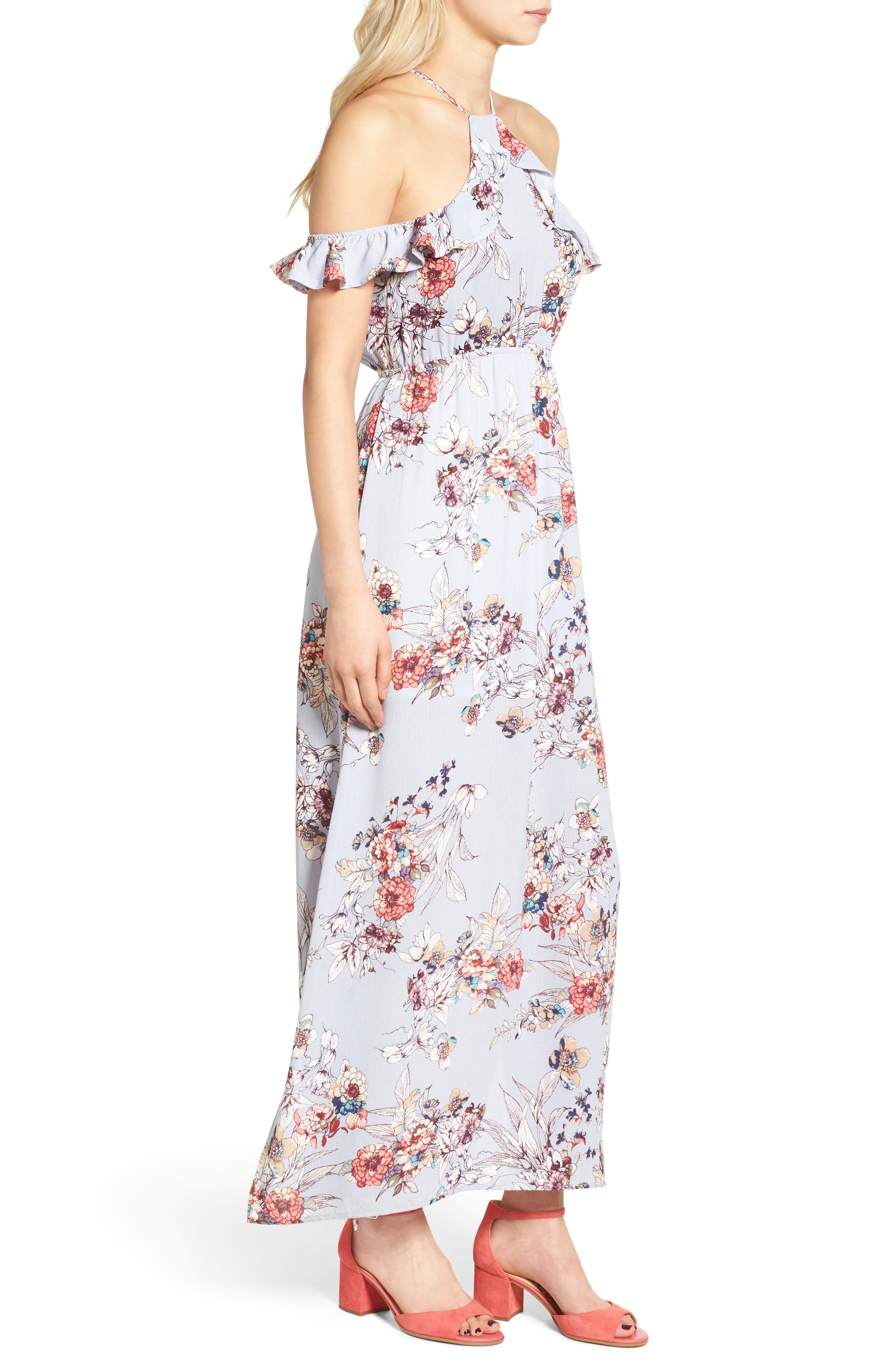 Alternate Image 3  - One Clothing Floral Cold Shoulder Maxi Dress