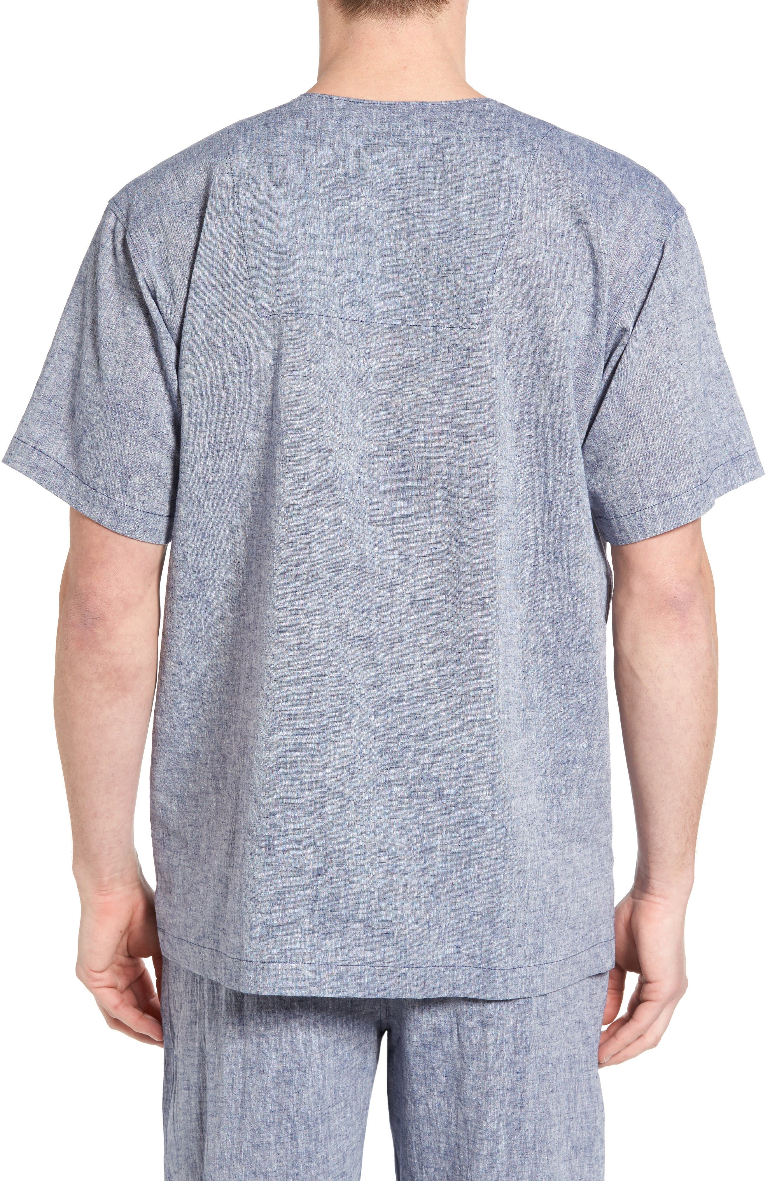 Linen & Cotton Pajama Shirt,                             Alternate thumbnail 2, color,                             Blue
