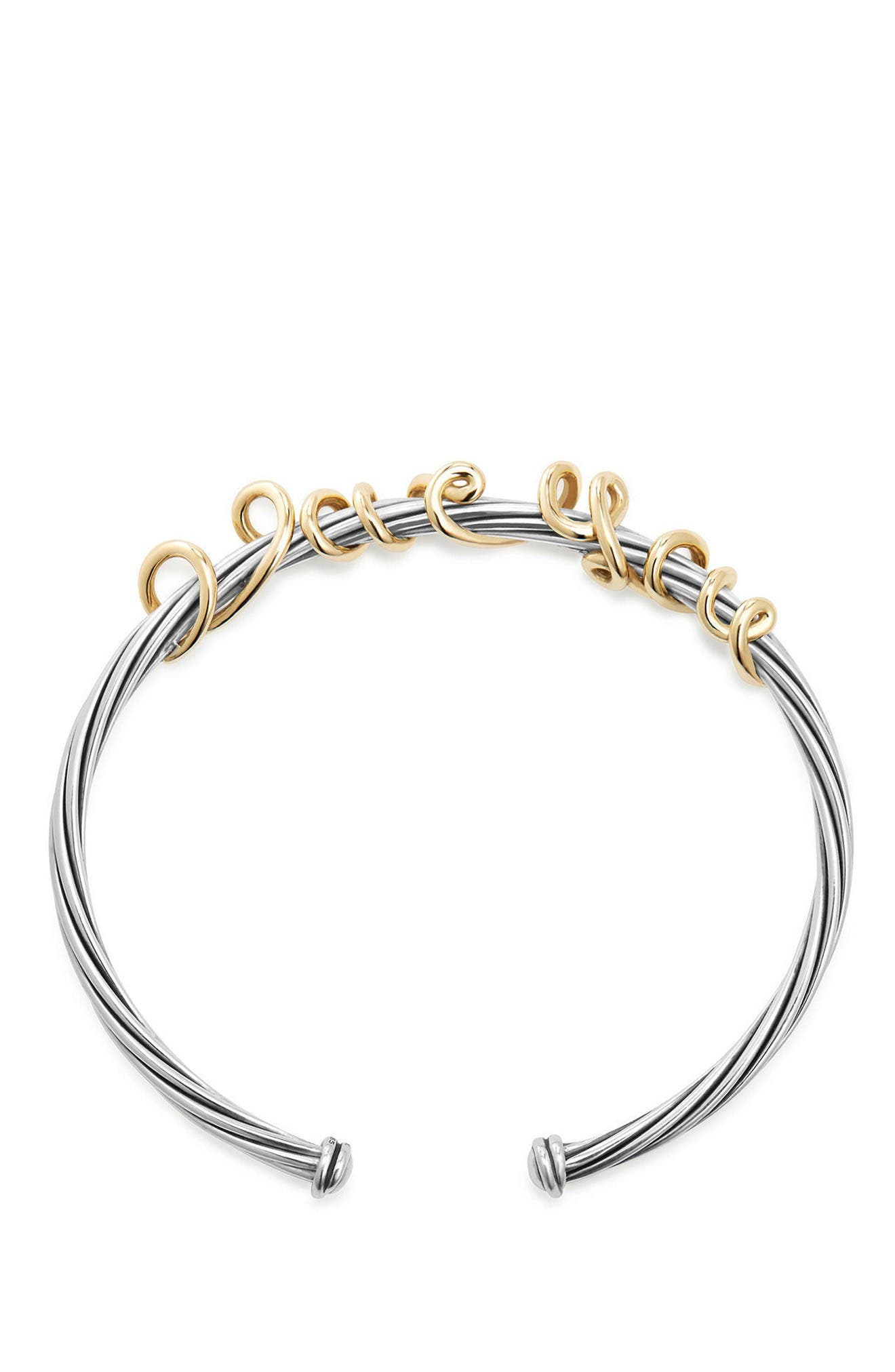 Whispers I Love You Bracelet,                             Alternate thumbnail 2, color,                             Silver/ Gold