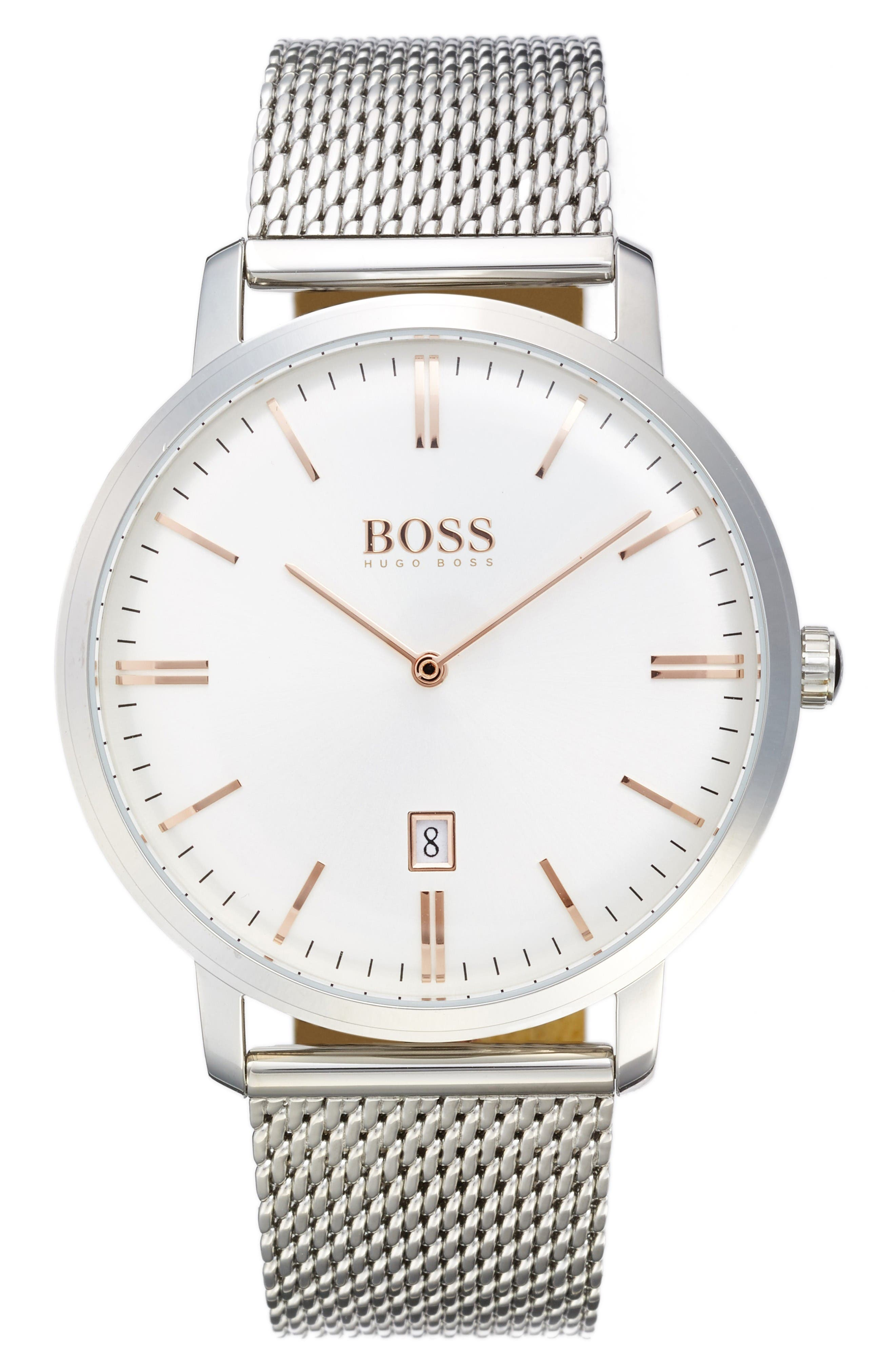 Main Image - BOSS Tradition Mesh Strap Watch, 40mm