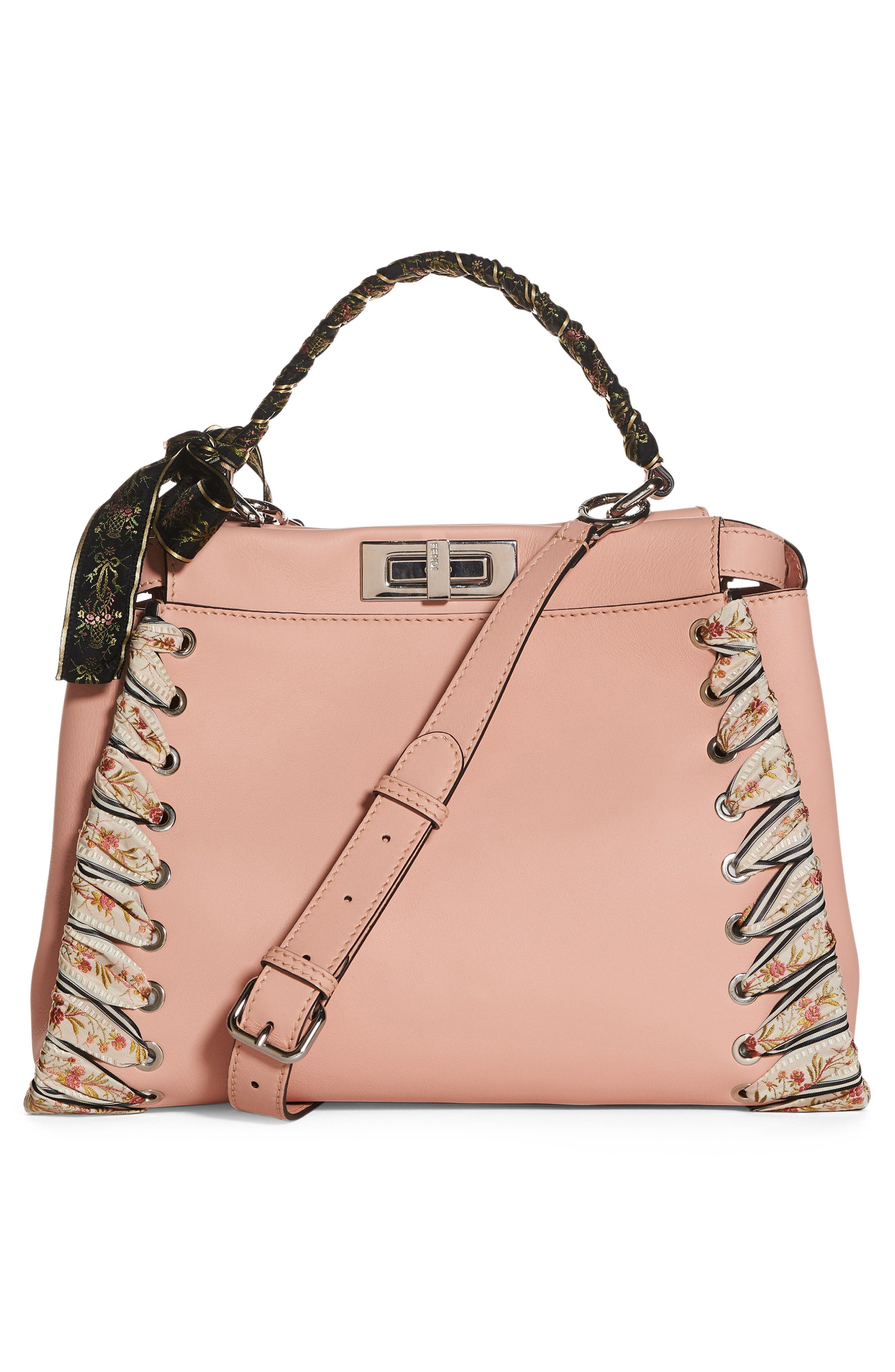 Medium Peekaboo Whipstitched Leather Satchel,                             Alternate thumbnail 2, color,                             Baby Pink