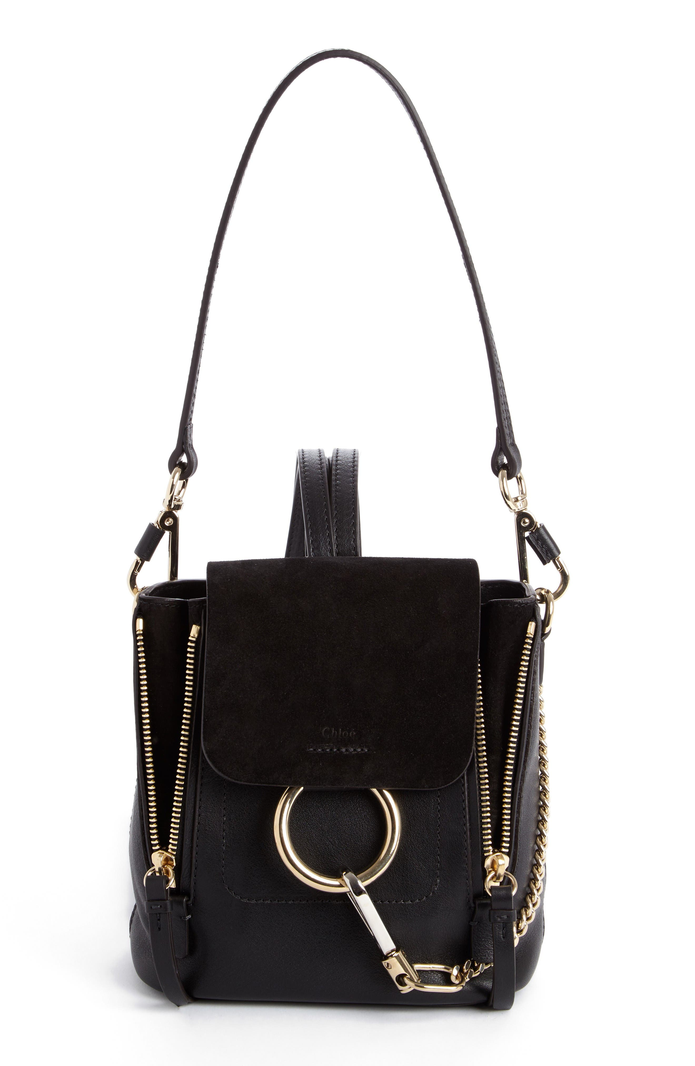 Mini Faye Leather & Suede Backpack,                         Main,                         color, 001 Black