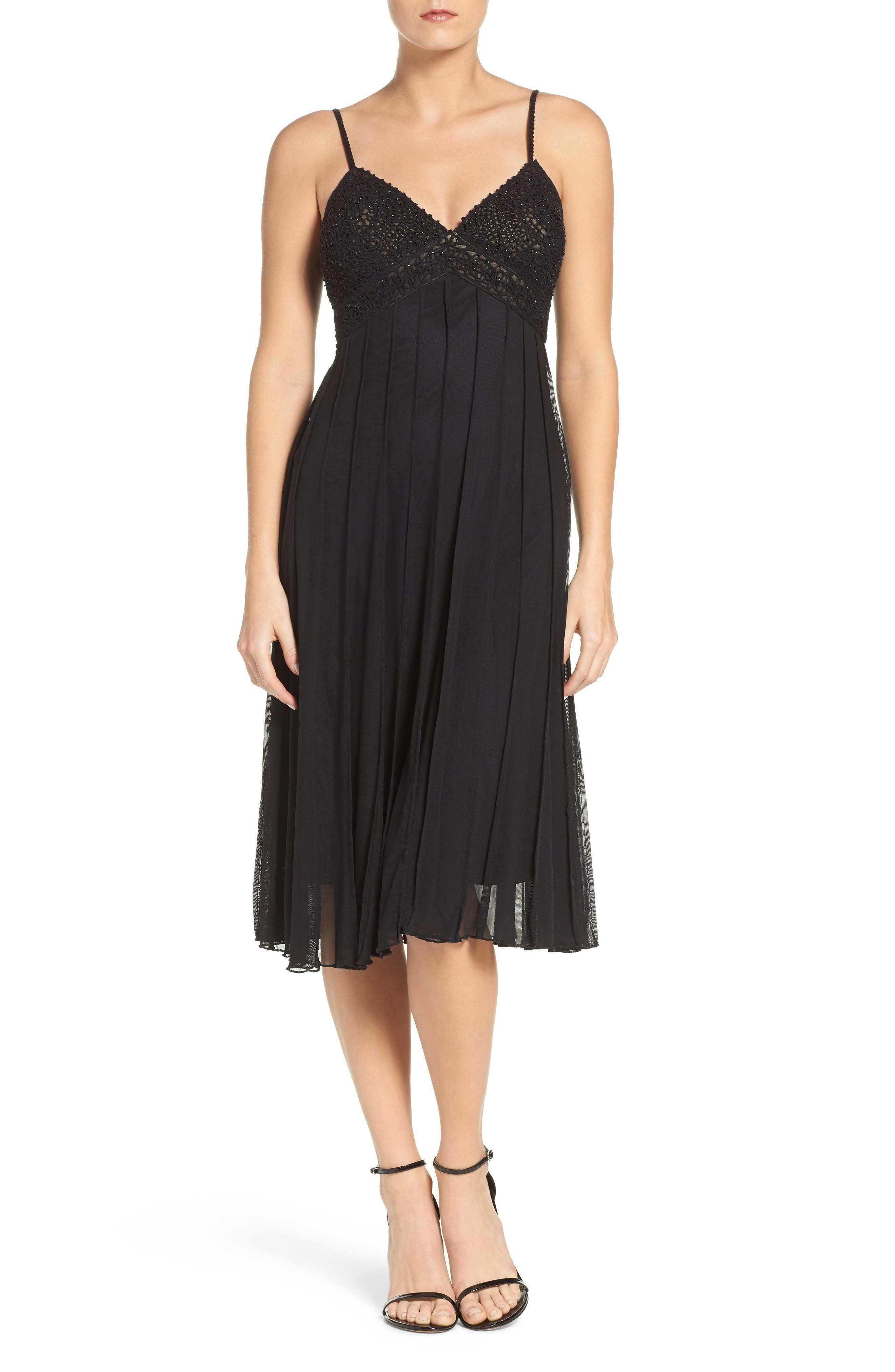 Beaded A-Line Dress,                         Main,                         color, Black