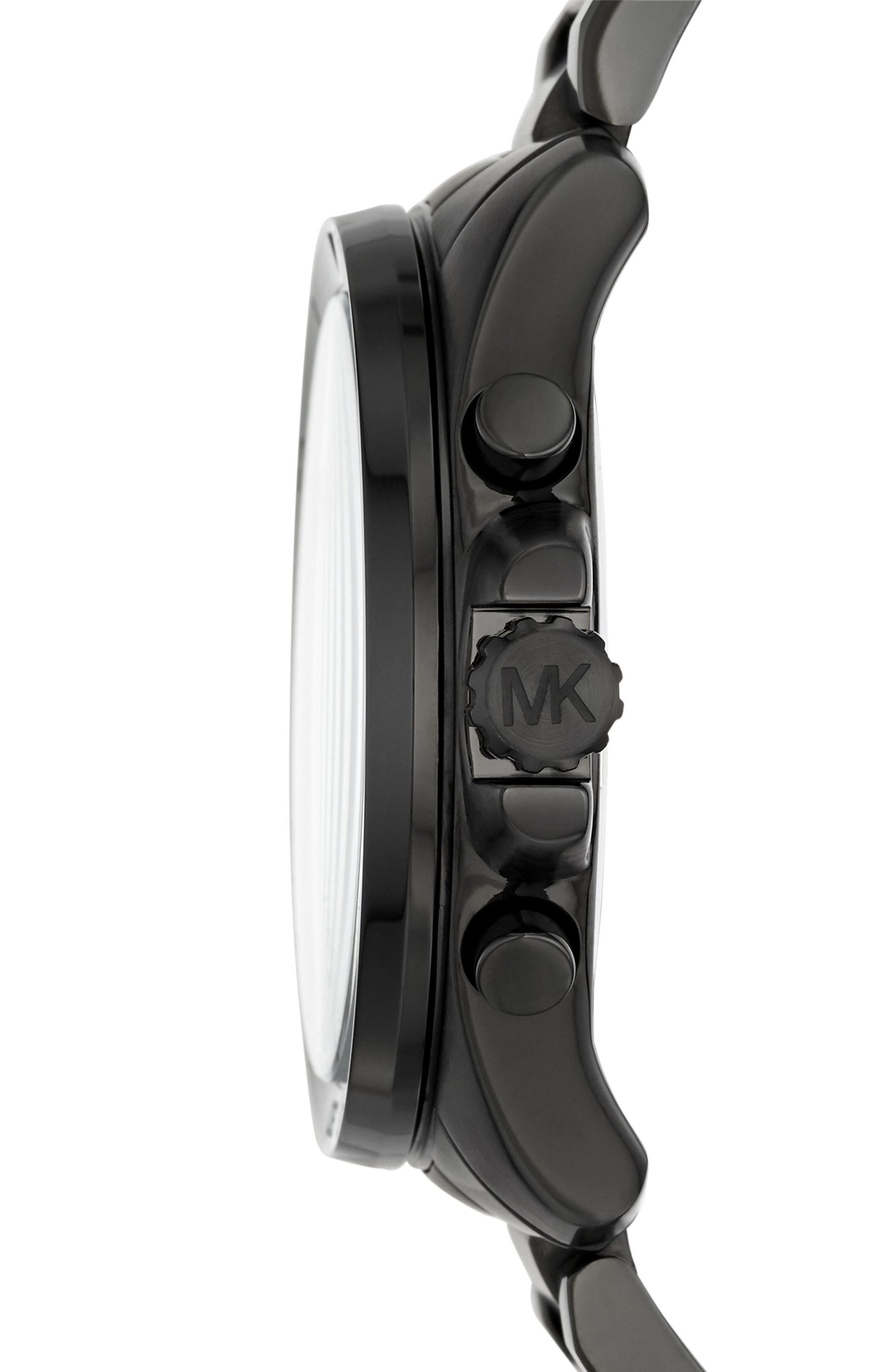 'Brecken' Chronograph Silicone Strap Watch, 44mm,                             Alternate thumbnail 2, color,                             Black