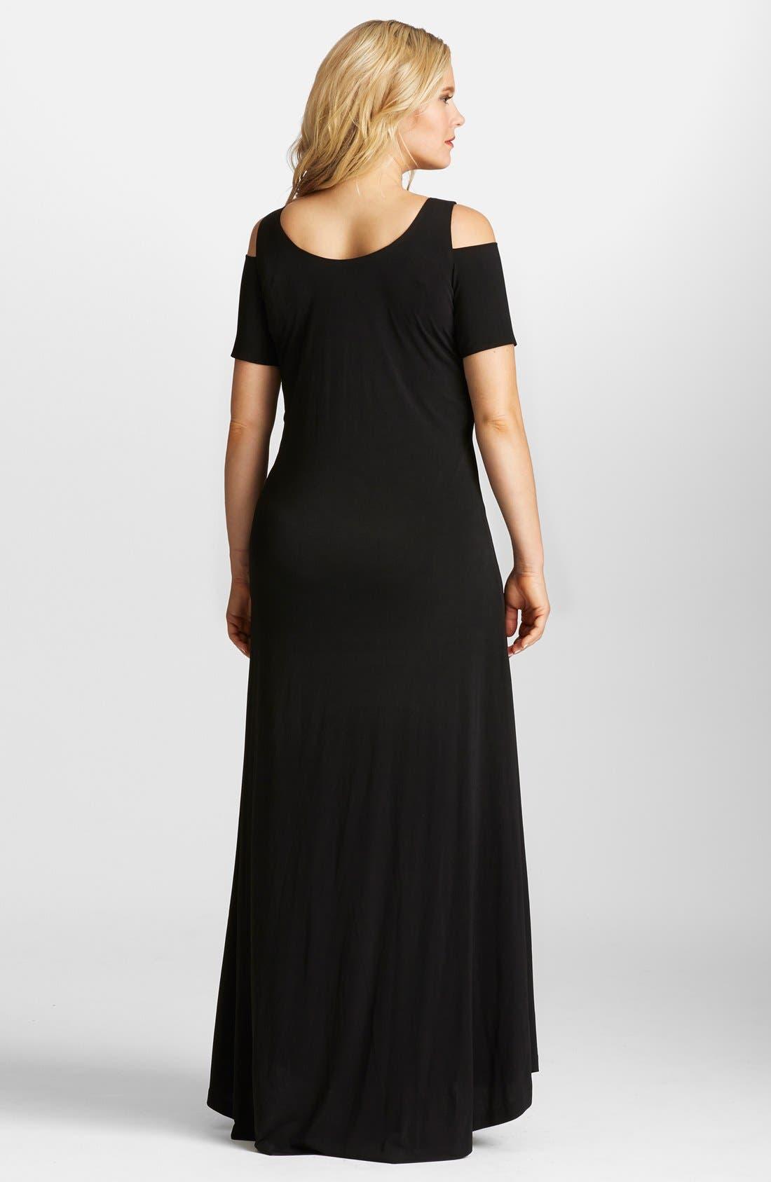 Alternate Image 2  - Mynt 1792 Cold Shoulder Maxi Dress (Plus Size)