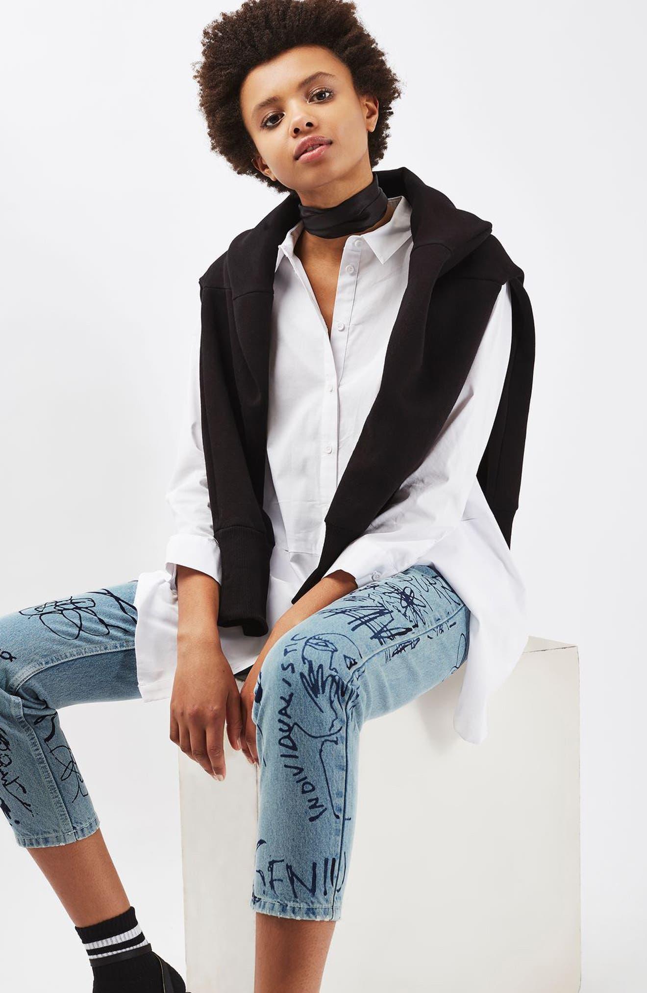 Alternate Image 2  - Topshop Scribble Crop Mom Jeans