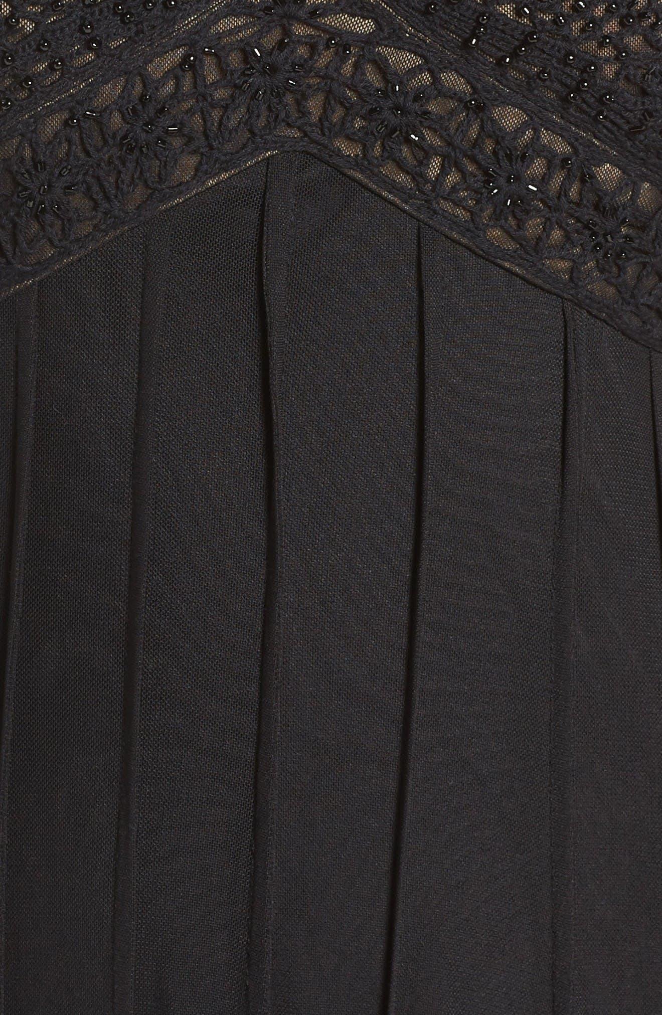 Beaded A-Line Dress,                             Alternate thumbnail 5, color,                             Black