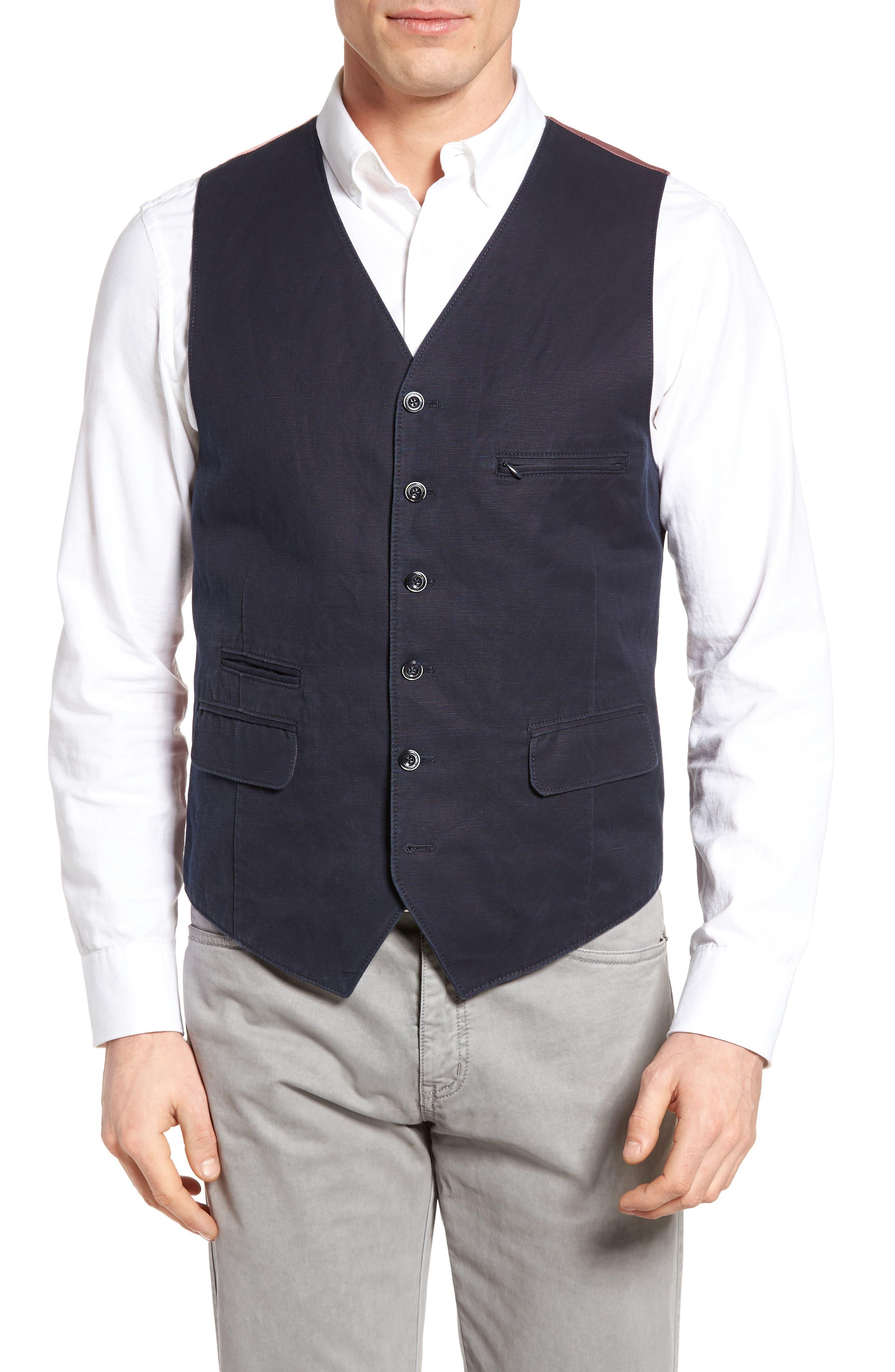 Hootie Solid Cotton & Linen Vest,                             Main thumbnail 1, color,                             Navy