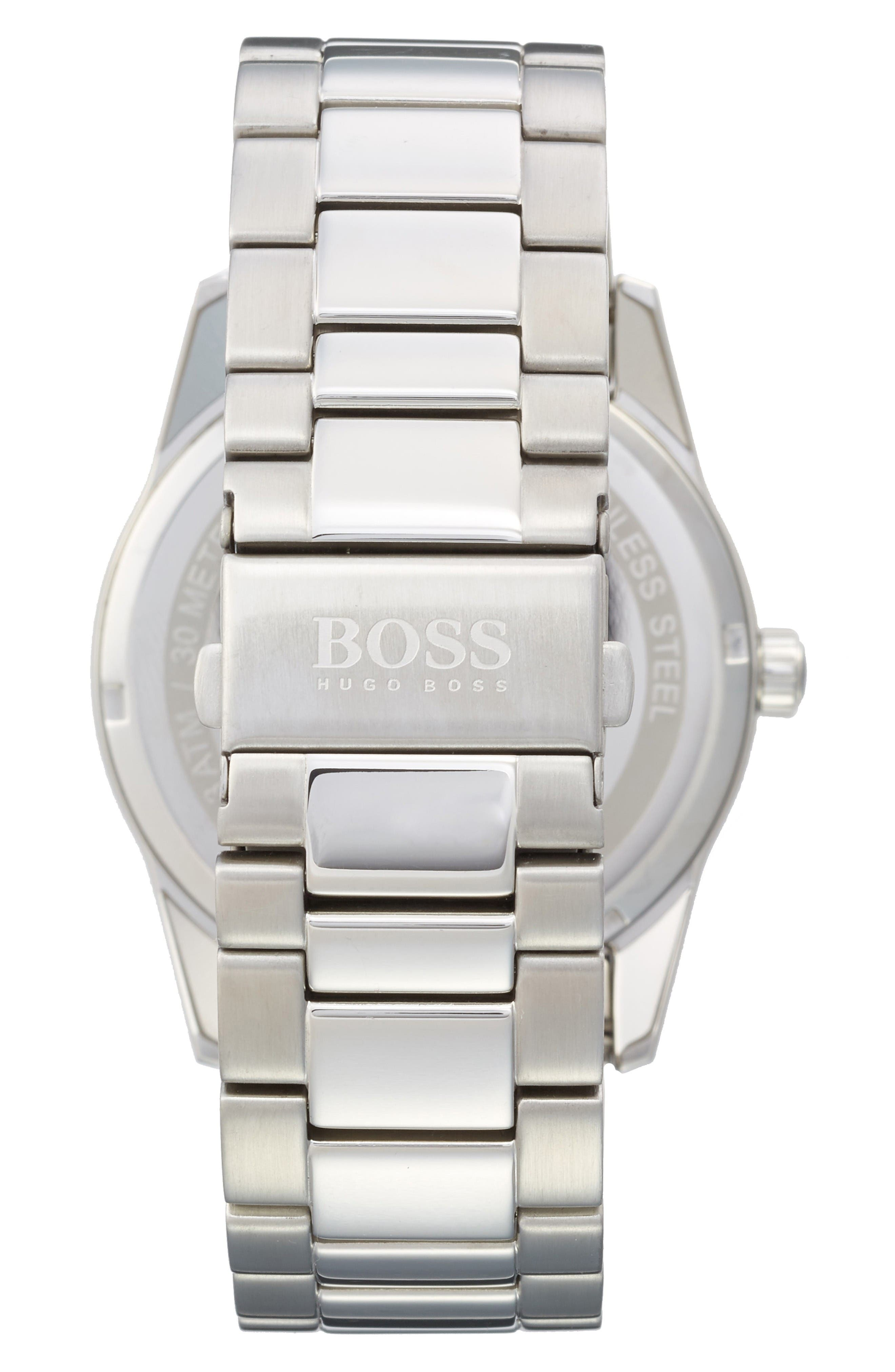 The Heritage Bracelet Watch, 43mm,                             Alternate thumbnail 2, color,                             Black/ Silver