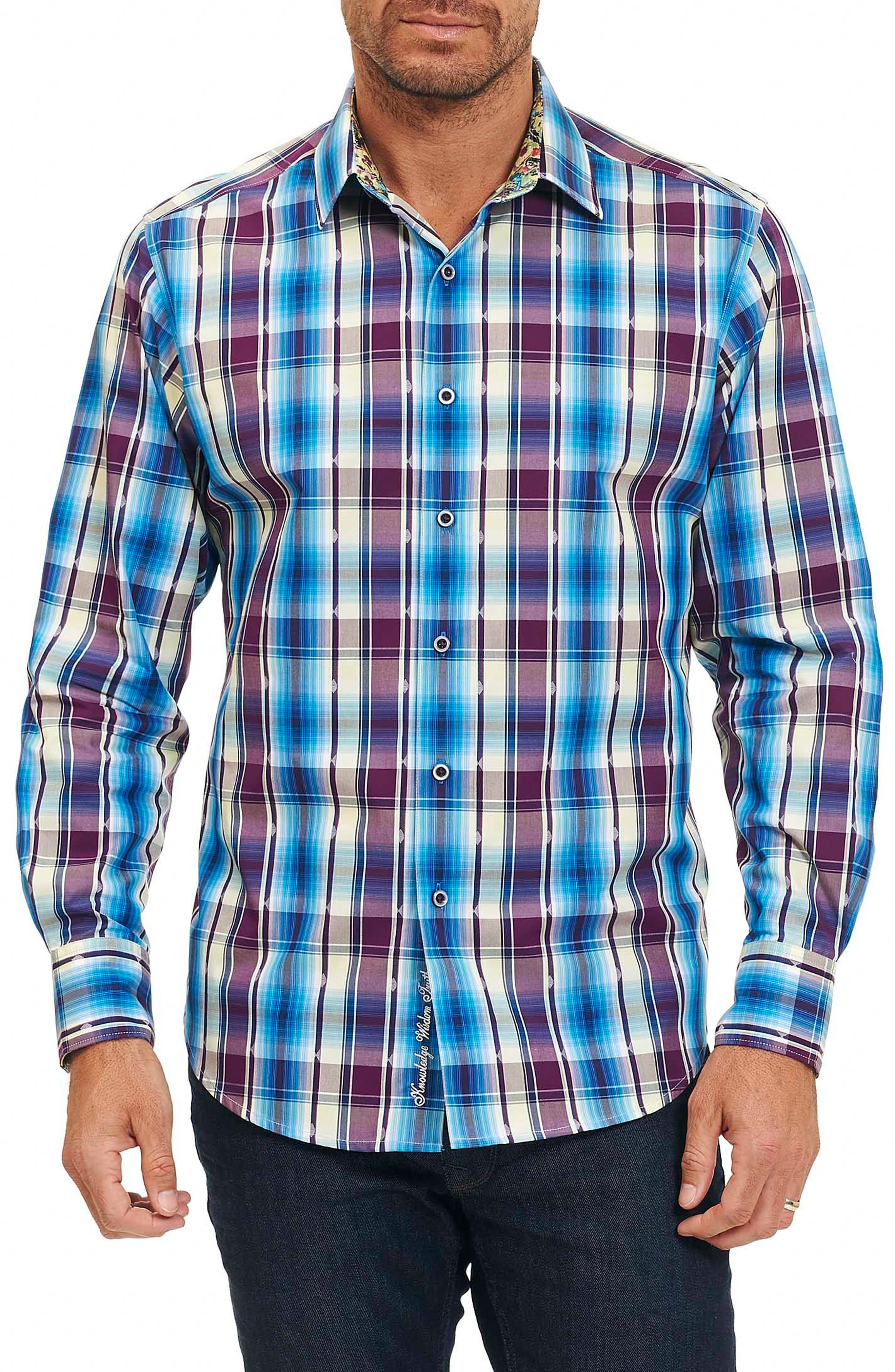 Hiran Plaid Sport Shirt,                         Main,                         color, Purple