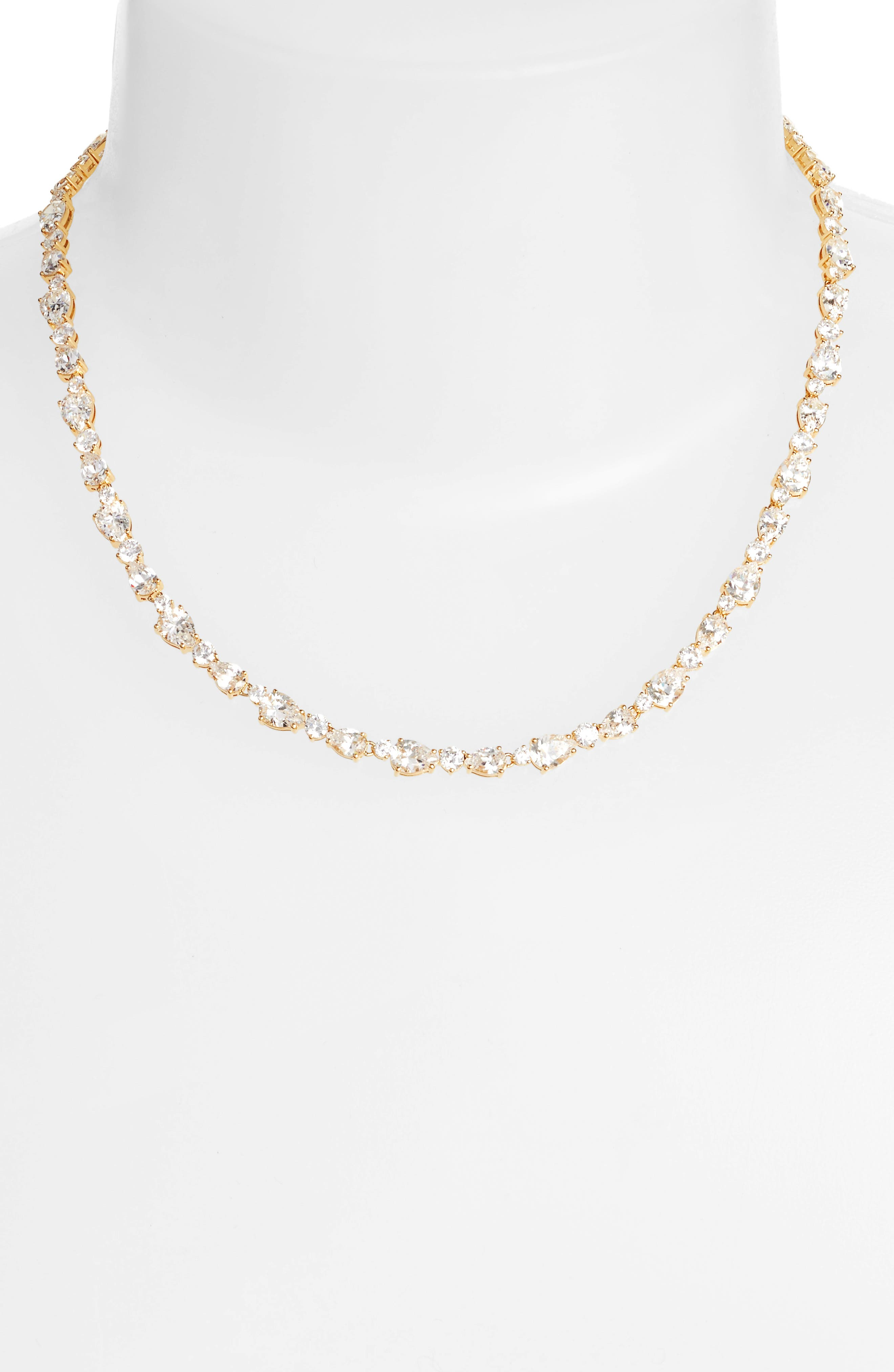 Ava Crystal Collar Necklace,                             Alternate thumbnail 2, color,                             Gold