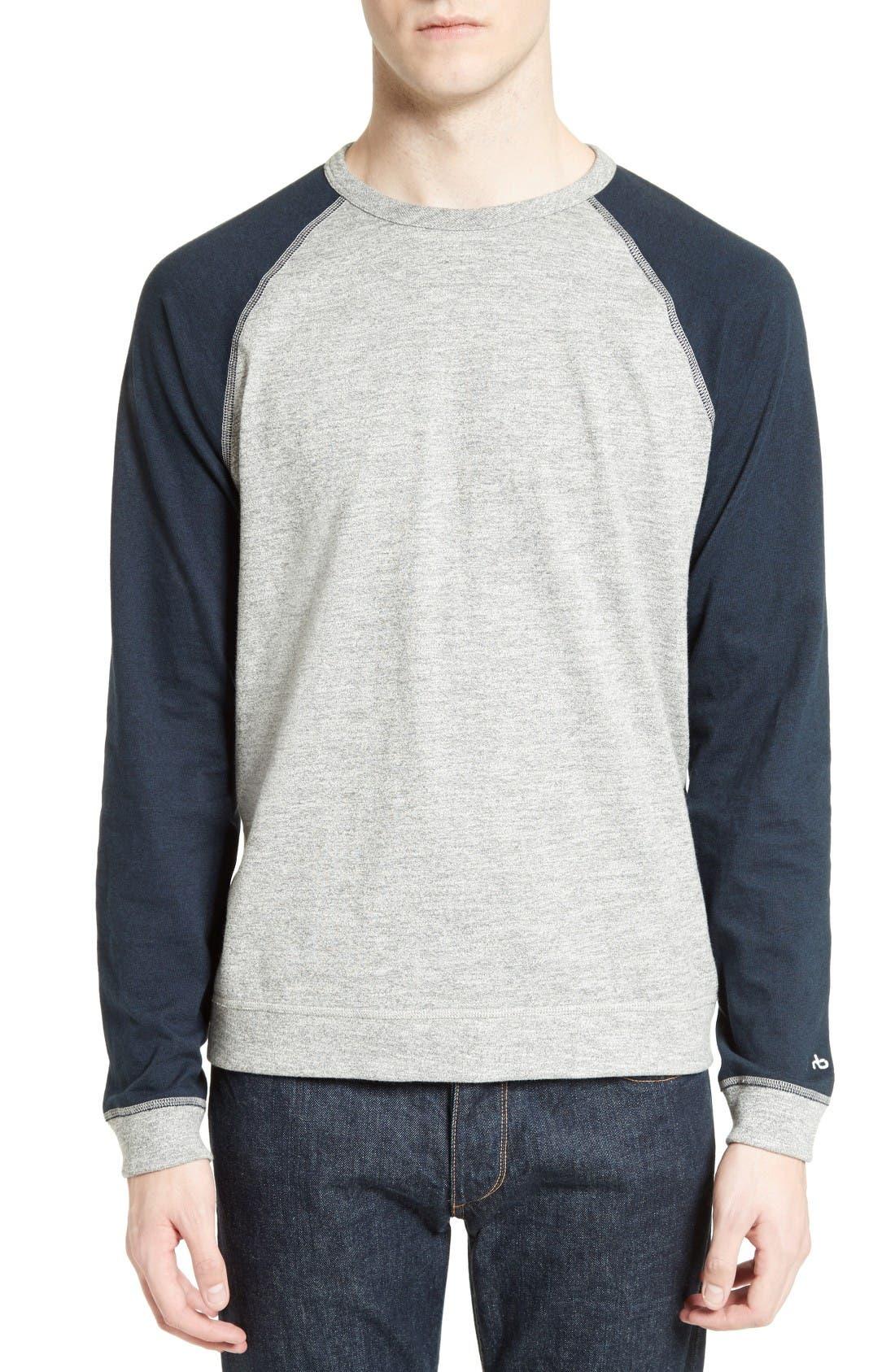Colorblock Raglan Sleeve Sweatshirt,                         Main,                         color, Grey