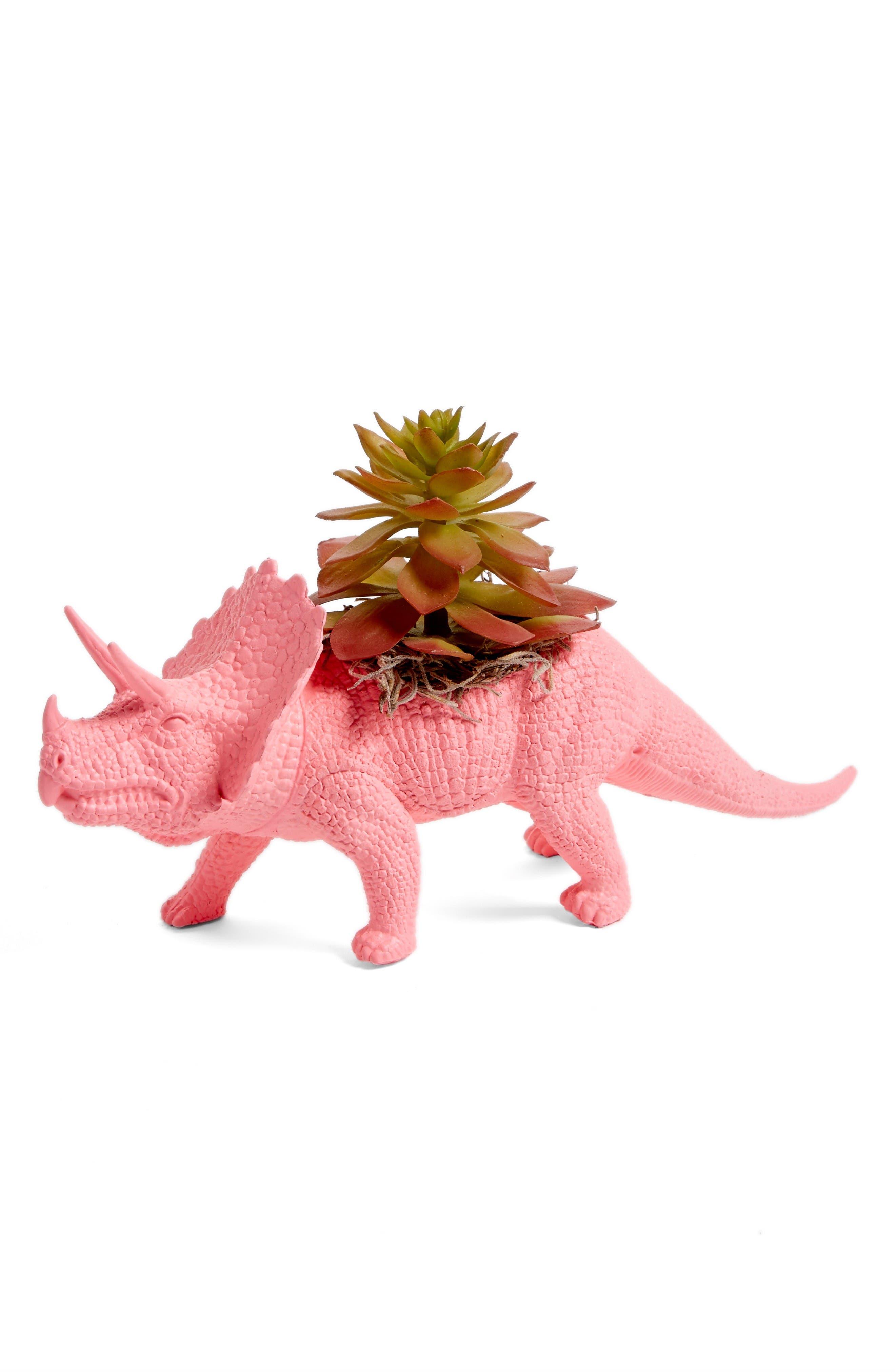 Plaid Pigeon Triceratops Faux Planter