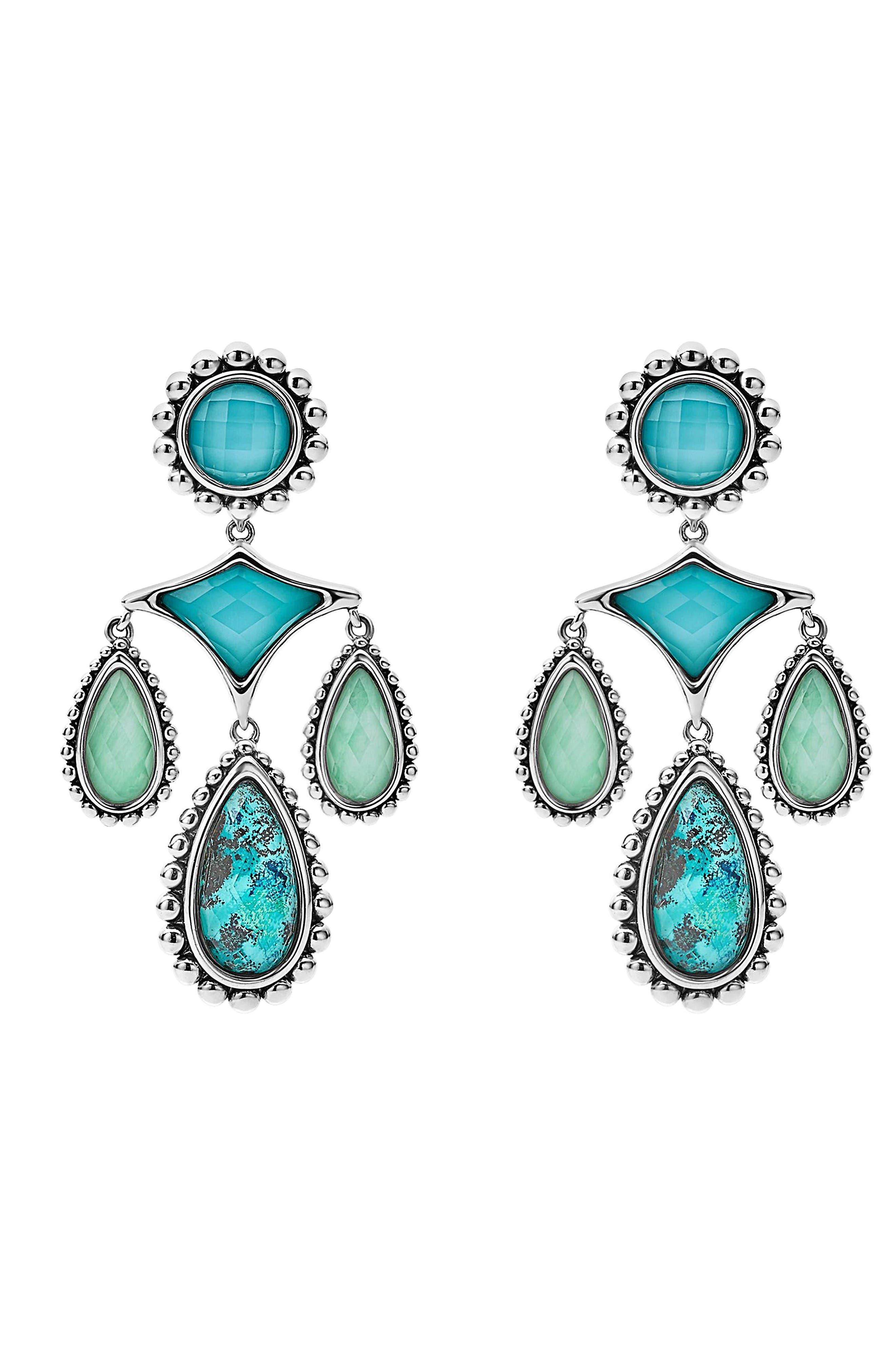 Maya Chandelier Earrings,                             Alternate thumbnail 2, color,                             Chrysocolla