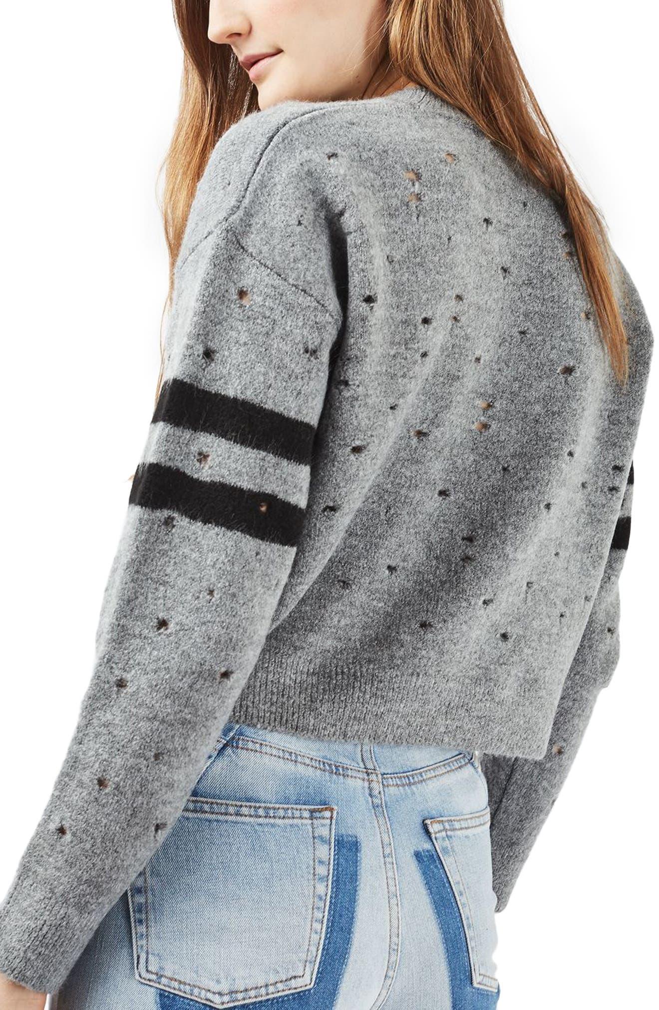 Alternate Image 3  - Topshop Nibbled Stripe Sweater