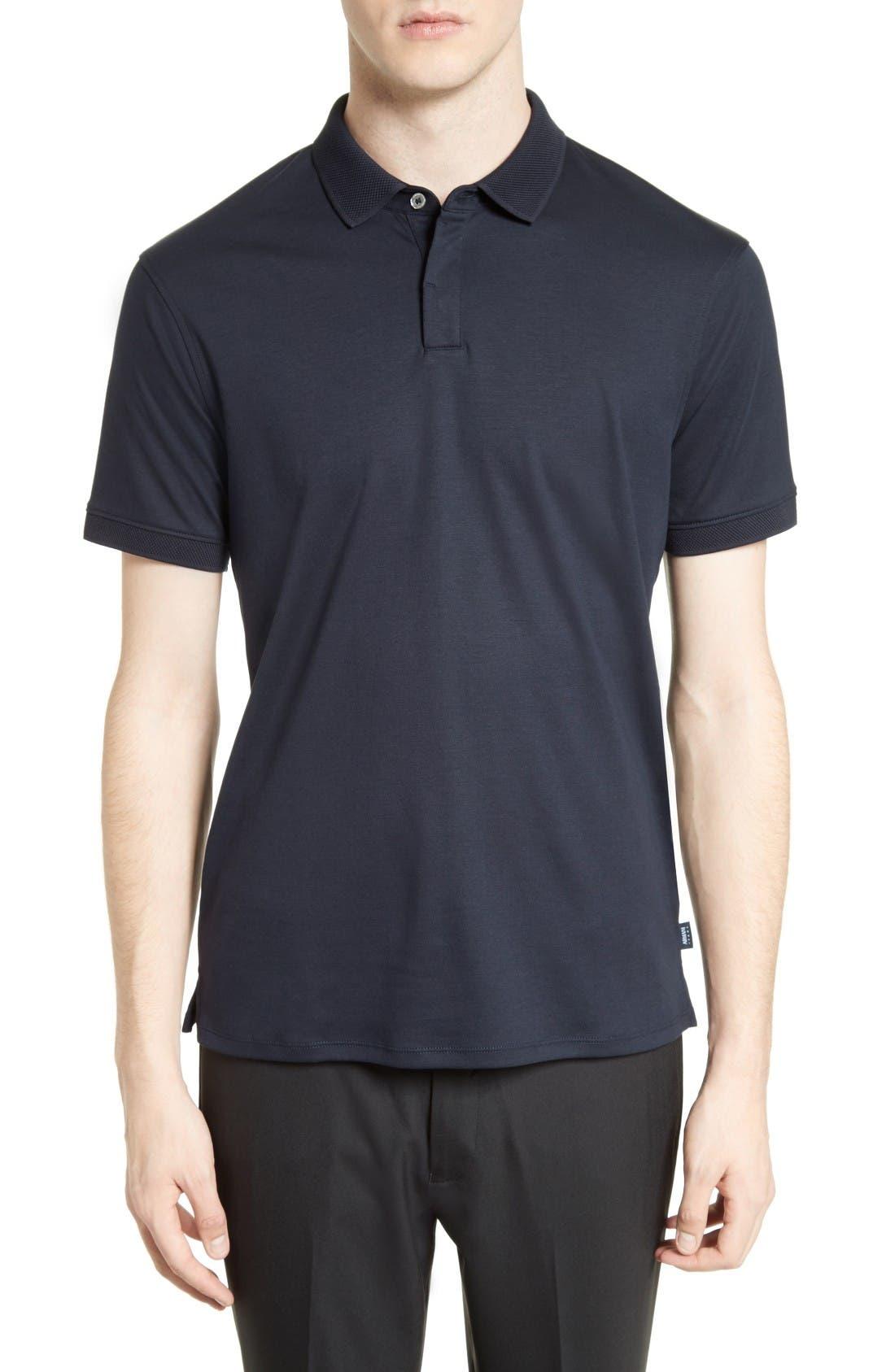 Cotton Interlock Polo,                         Main,                         color, Navy