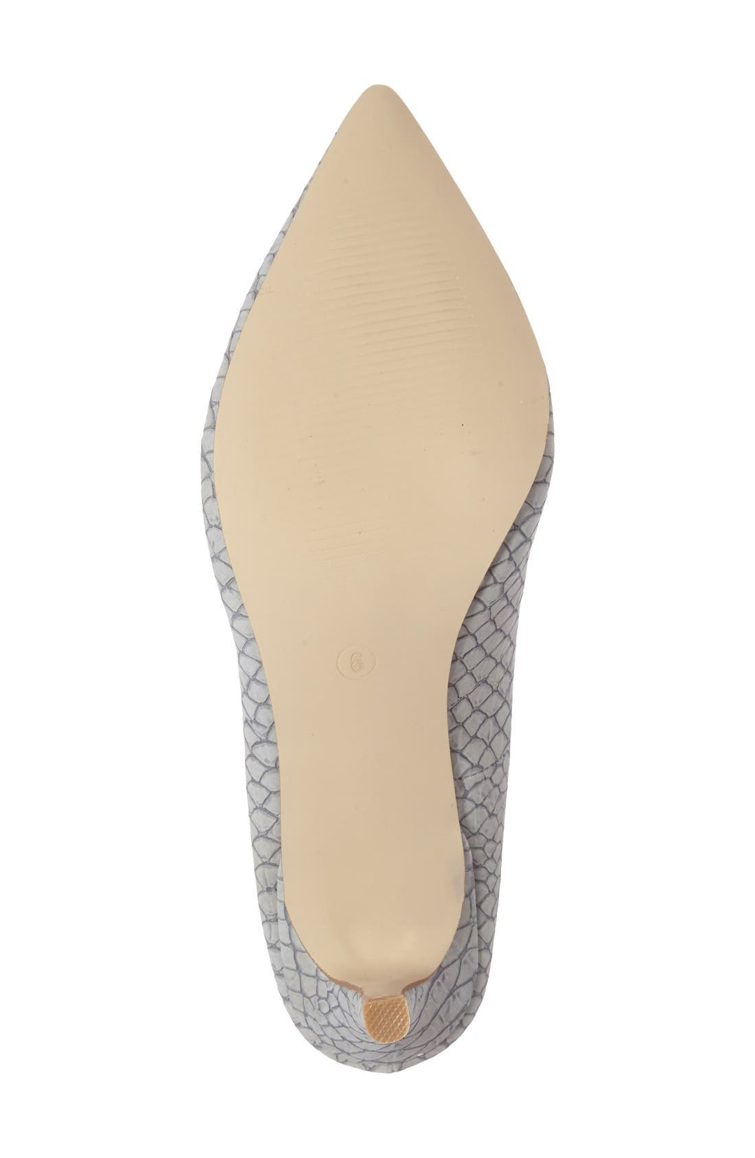 Tikka Pointy Toe Pump,                             Alternate thumbnail 4, color,                             Grey Faux Leather