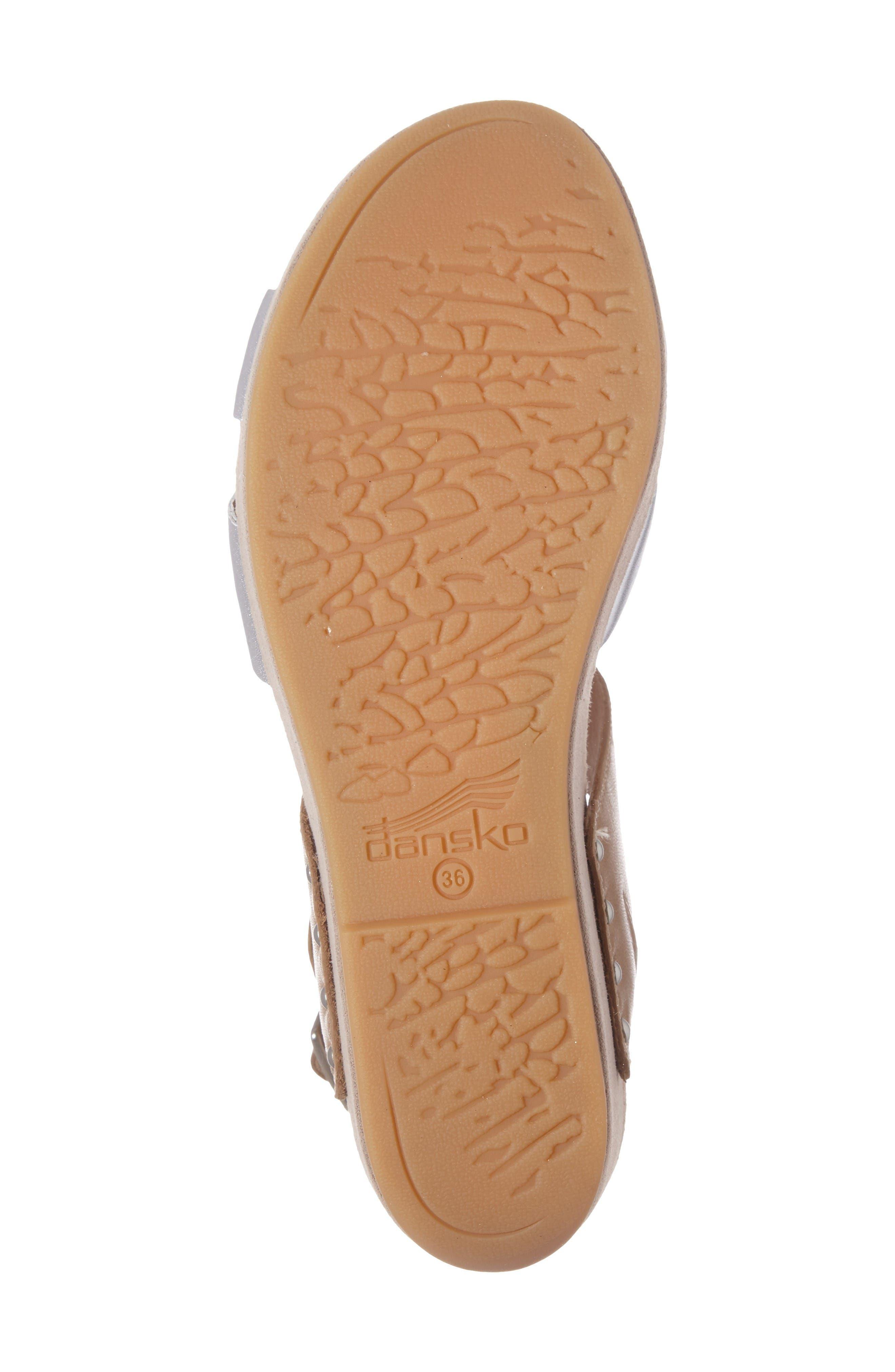 Stasia Platform Wedge Sandal,                             Alternate thumbnail 4, color,                             Sand/ Silver Leather
